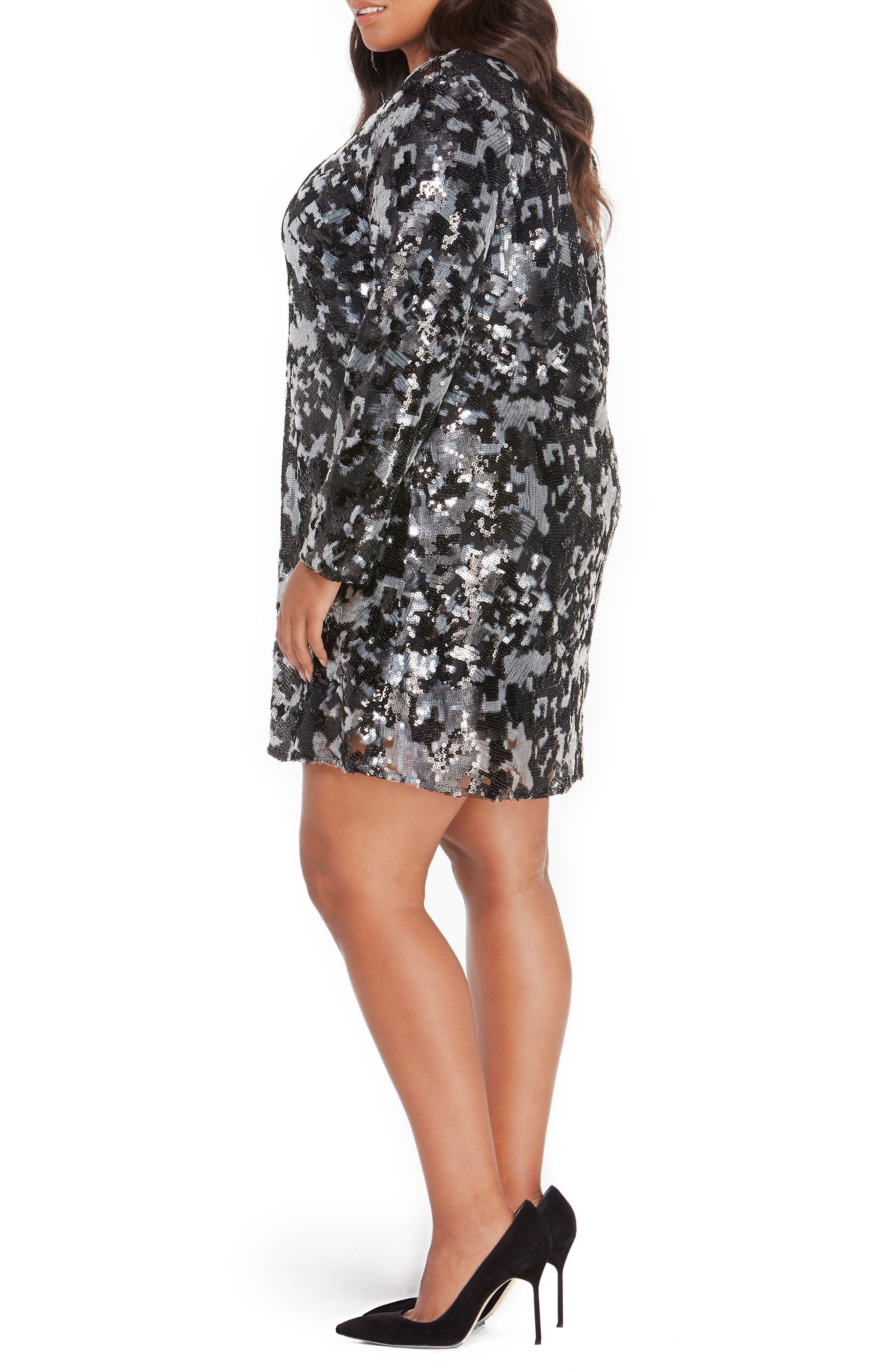 Sequin Dress,                             Alternate thumbnail 3, color,                             Black Abstract Camo