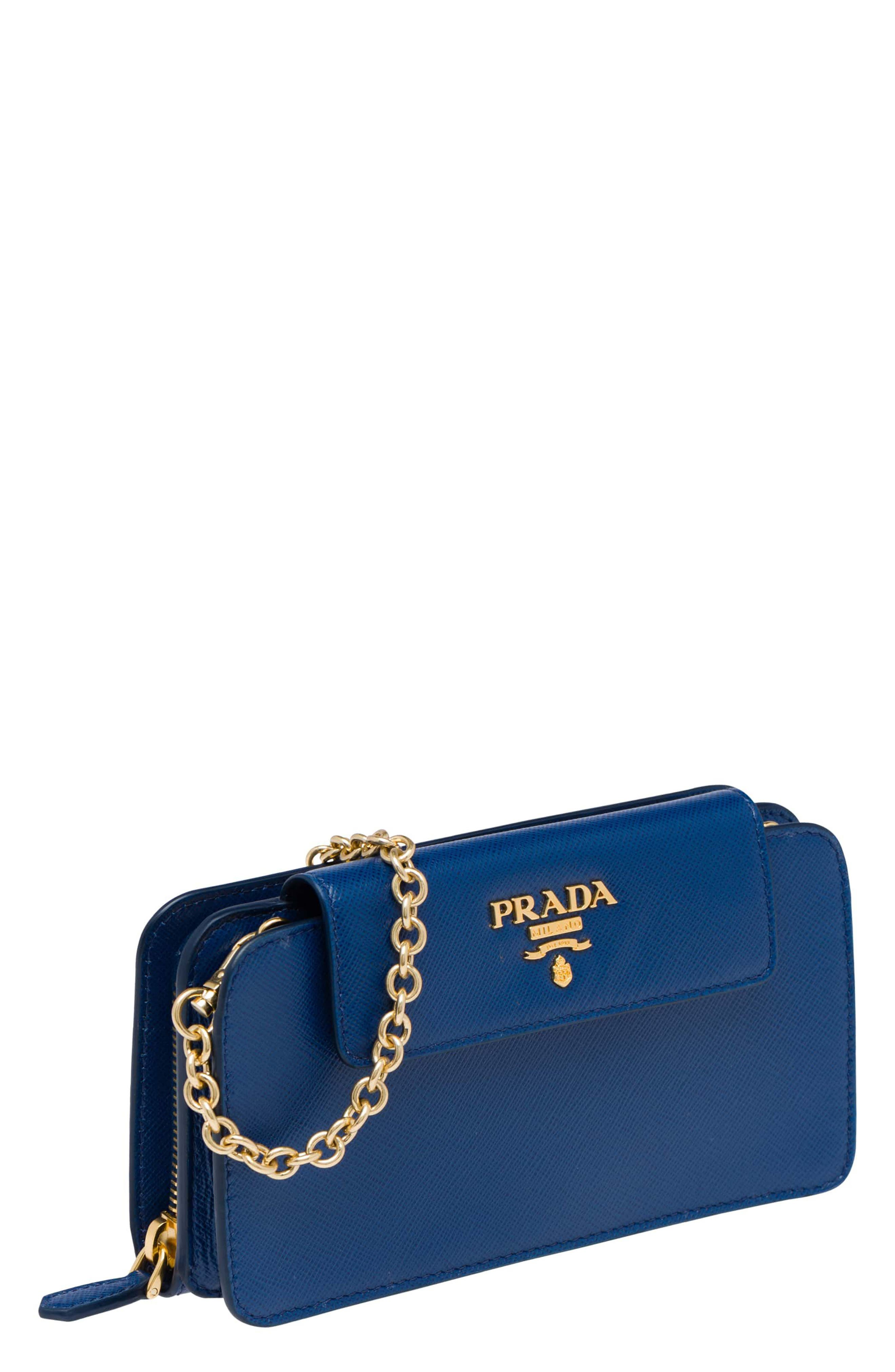 Saffiano Leather Metal Oral Phone Wallet on a Chain,                             Alternate thumbnail 6, color,                             Bluette