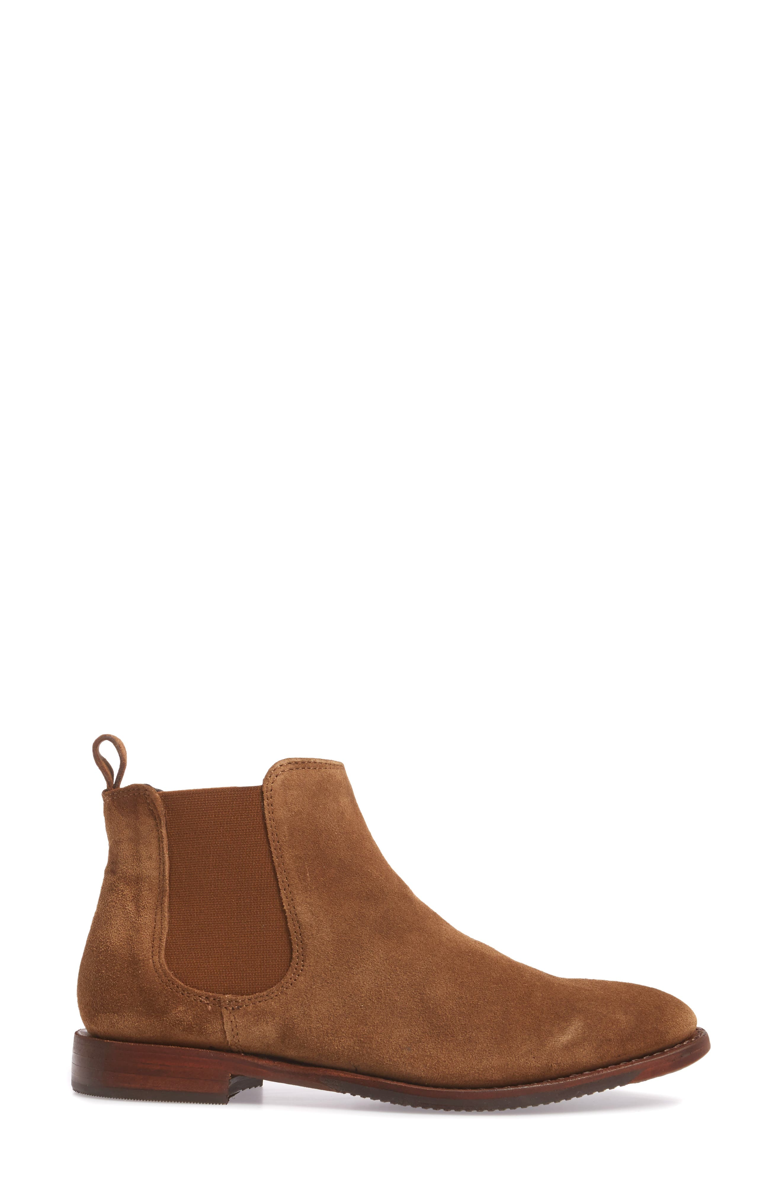 Gabrielle Chelsea Boot,                             Alternate thumbnail 3, color,                             Brown Suede