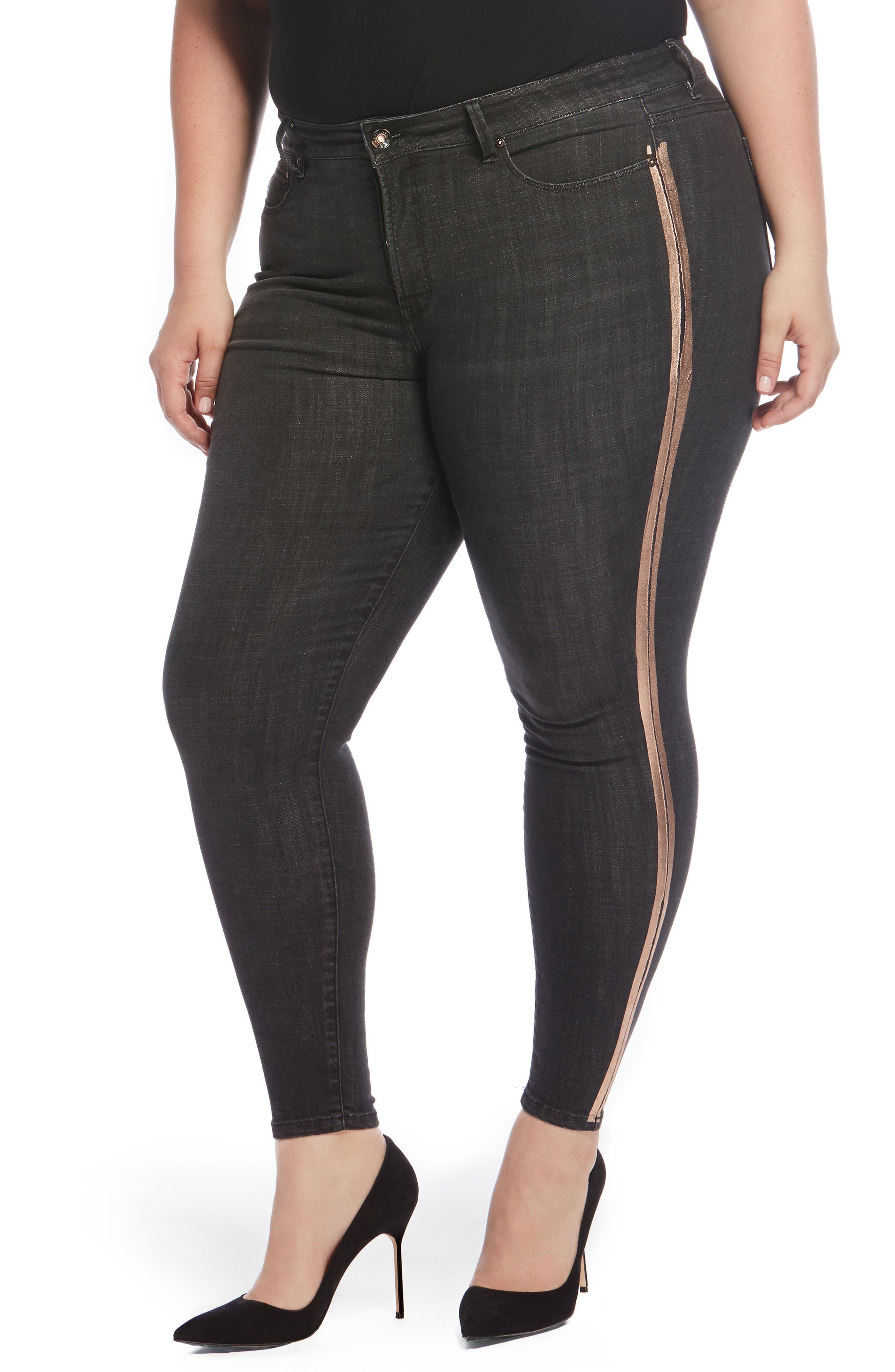 The Pin Up Ripped Ankle Jeans,                         Main,                         color, Hollywood/ Bronze Stripe