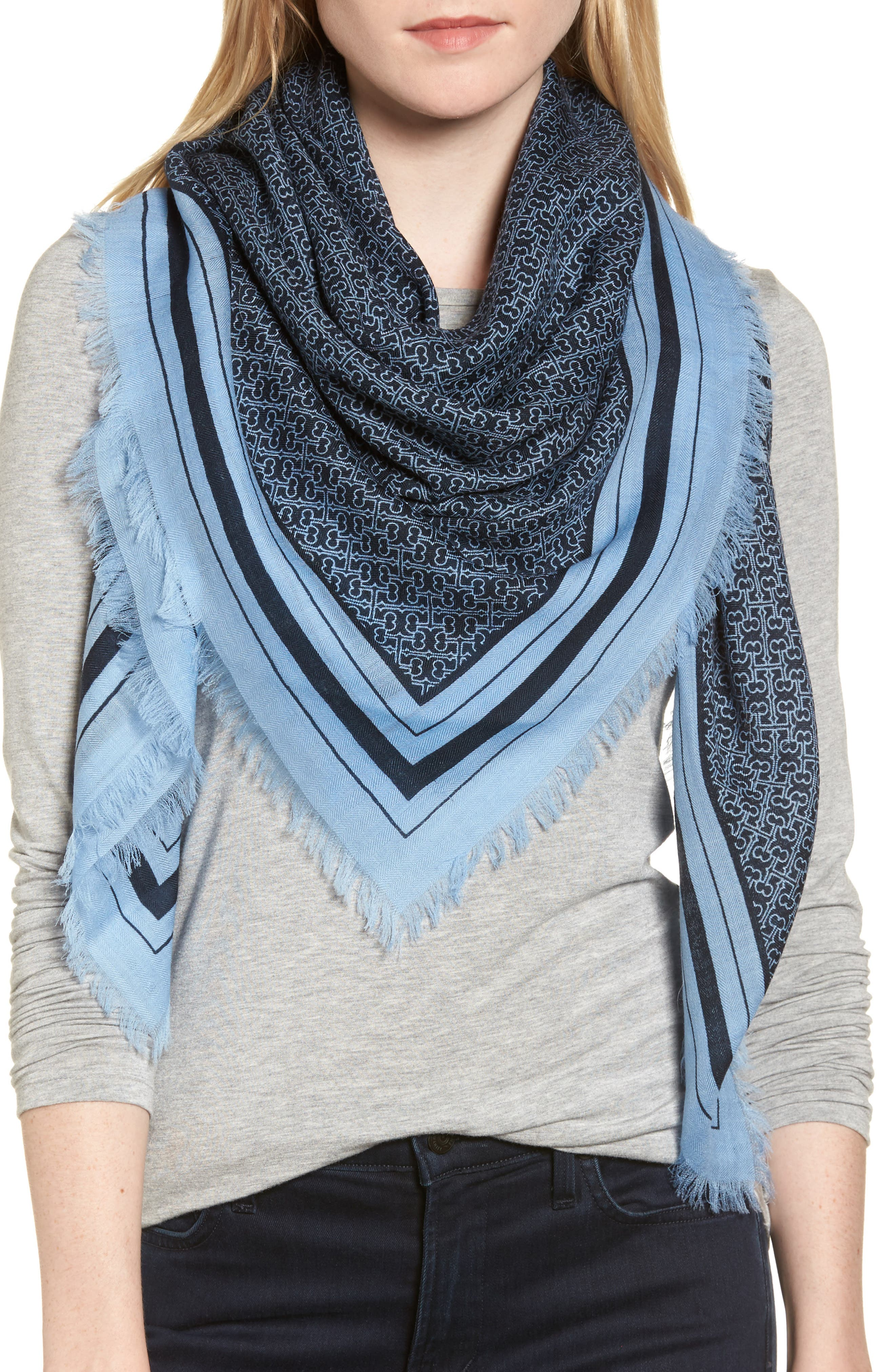T Core Square Wool Scarf,                         Main,                         color, Tory Navy