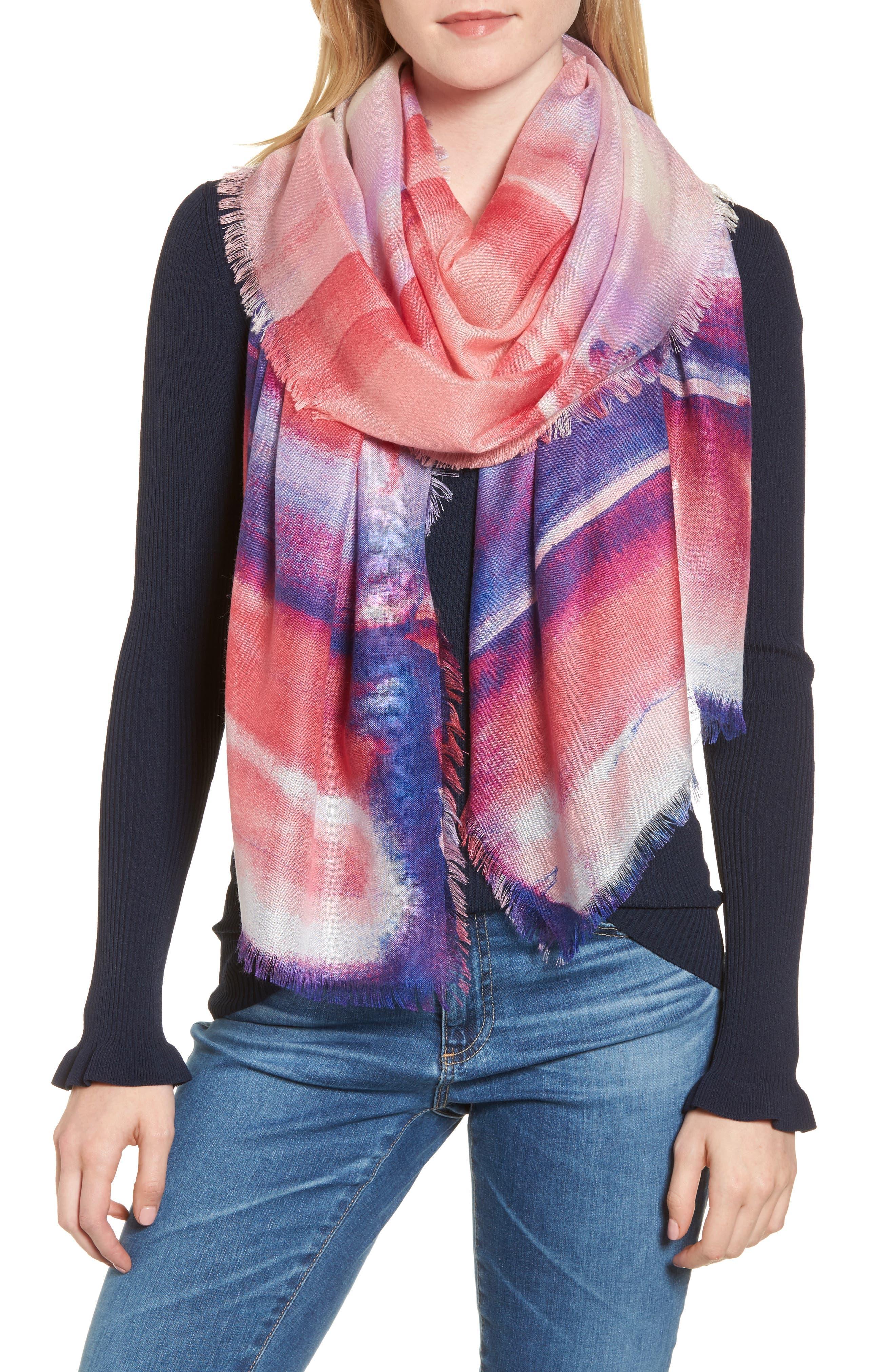 Eyelash Trim Print Cashmere & Silk Wrap,                             Main thumbnail 1, color,                             Purple Artist Landscape