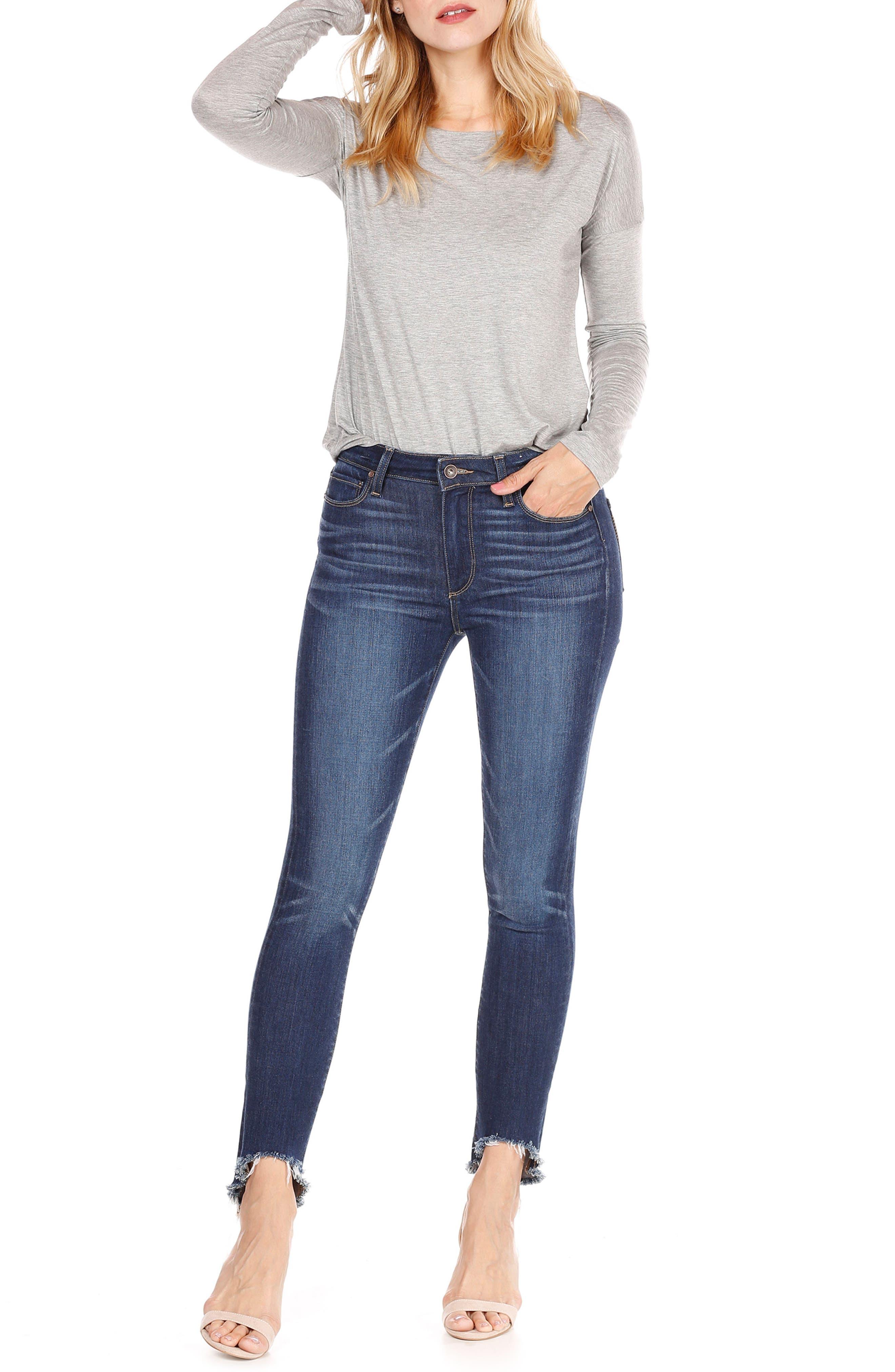 Transcend Vintage - Hoxton High Waist Ankle Skinny Jeans,                             Alternate thumbnail 3, color,                             Auburn