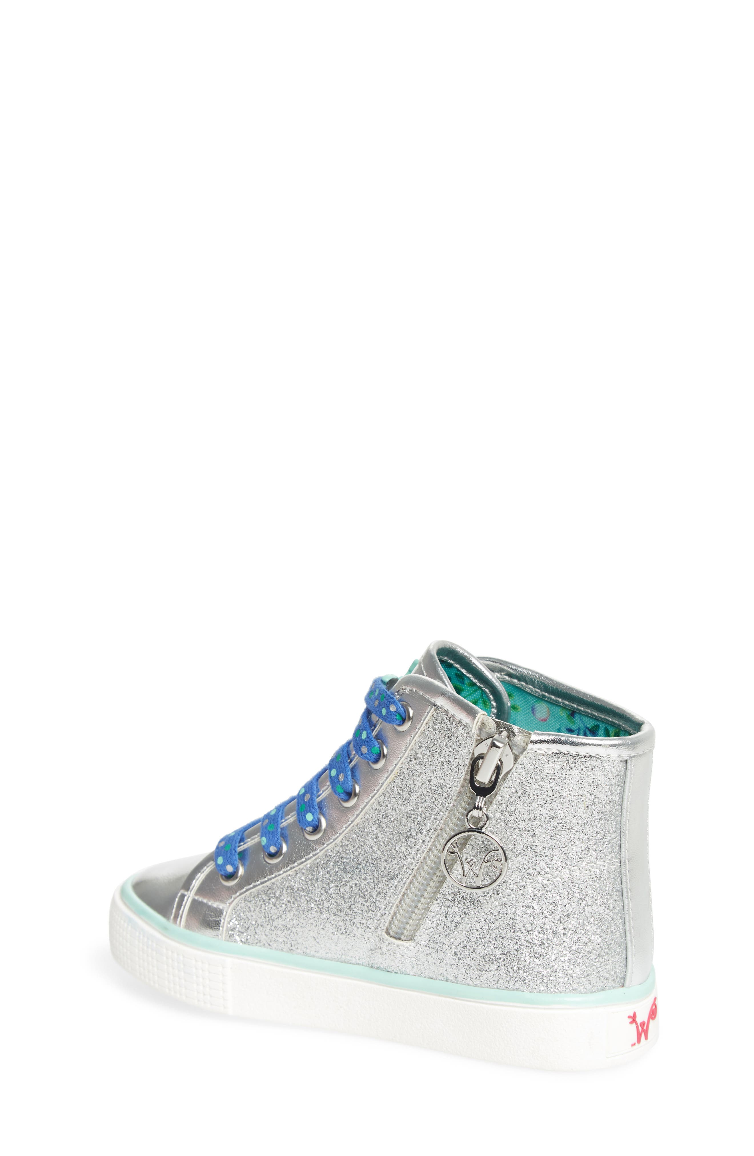 Camille Glitter High Top Sneaker,                             Alternate thumbnail 2, color,                             Silver