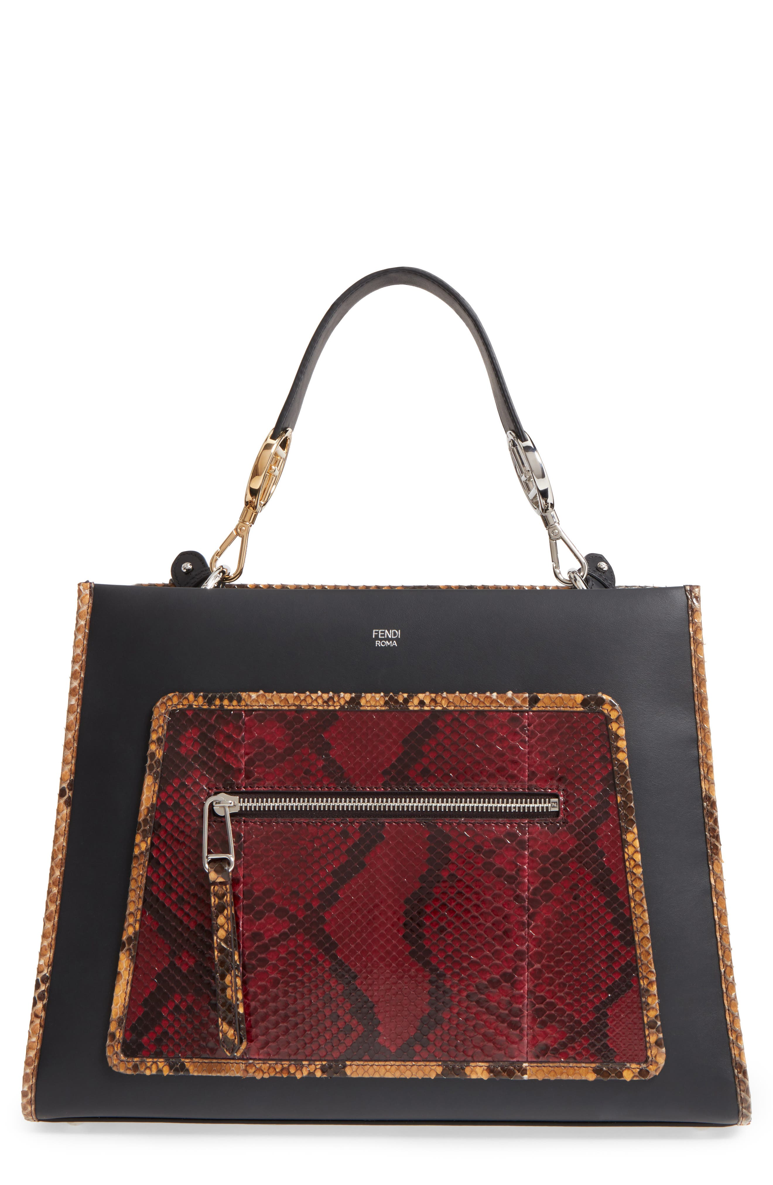 Runaway Leather & Genuine Python Tote,                             Main thumbnail 1, color,                             Black/ Multi