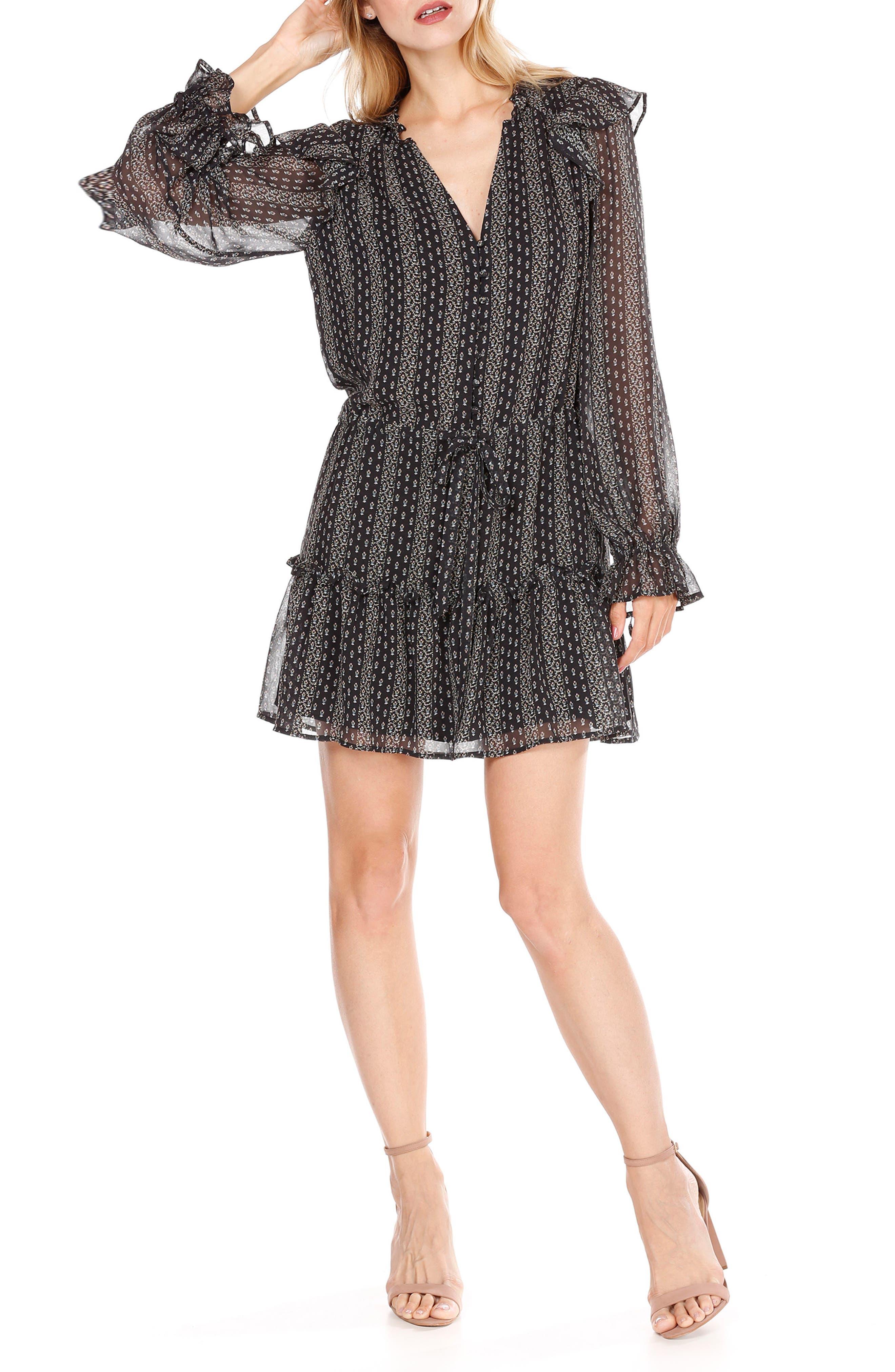 Pomello Silk Blouson Dress,                             Main thumbnail 1, color,                             Black Multi Mini Palace Garden