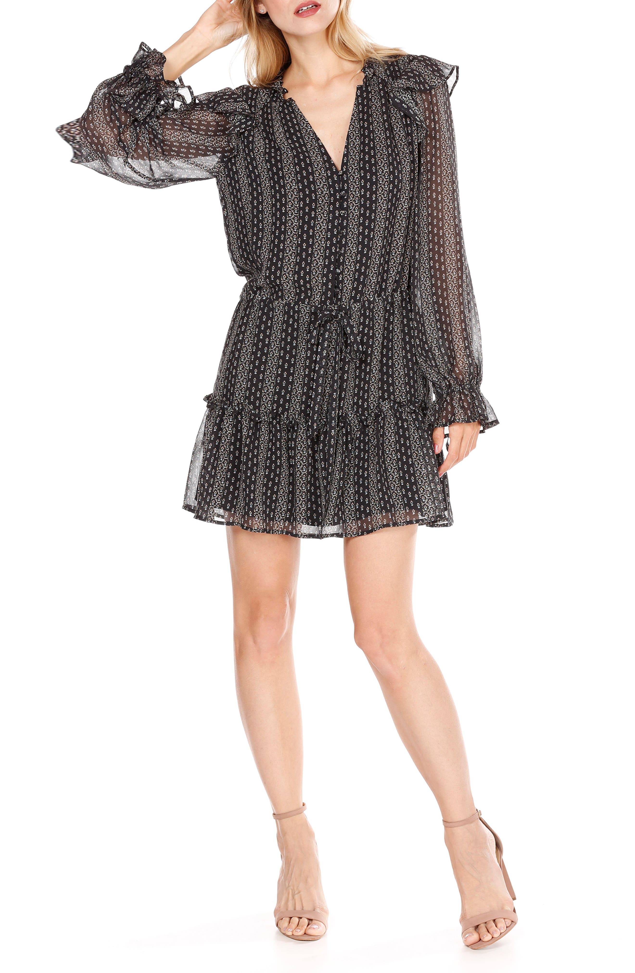 Pomello Silk Blouson Dress,                         Main,                         color, Black Multi Mini Palace Garden