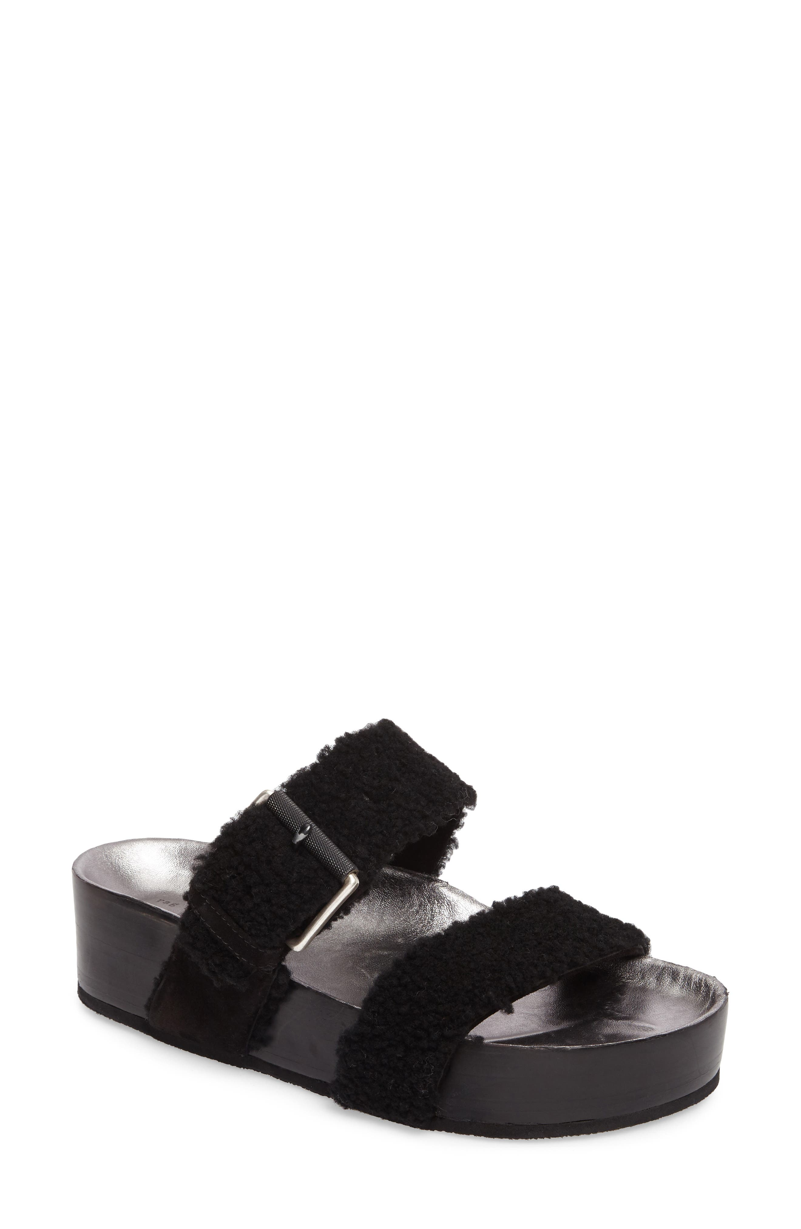 rag & bone Evin Genuine Shearling Slide Sandal (Women)