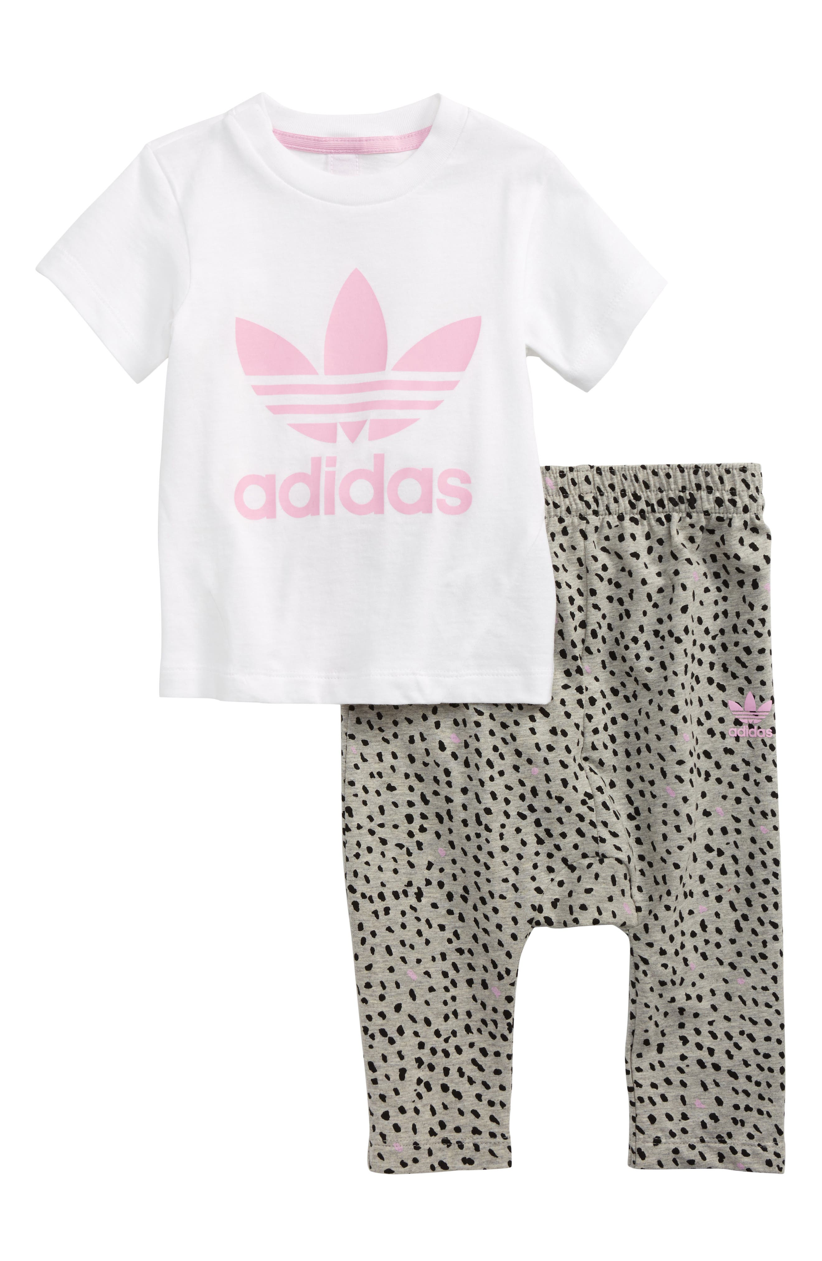 adidas Originals Logo Tee & Print Leggings Set (Baby Girls)