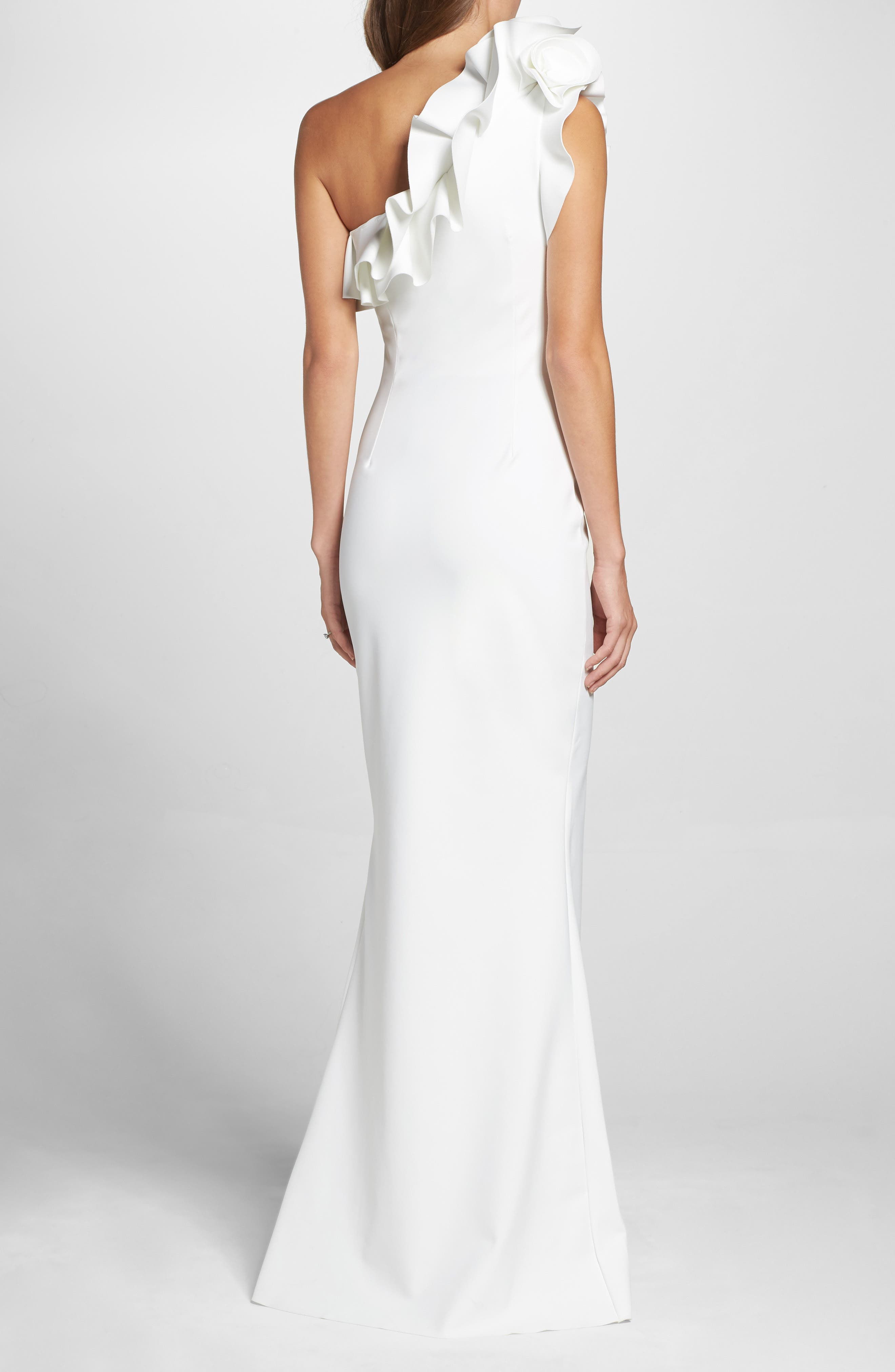 Elisir Ruffle One-Shoulder Gown,                             Alternate thumbnail 2, color,                             White