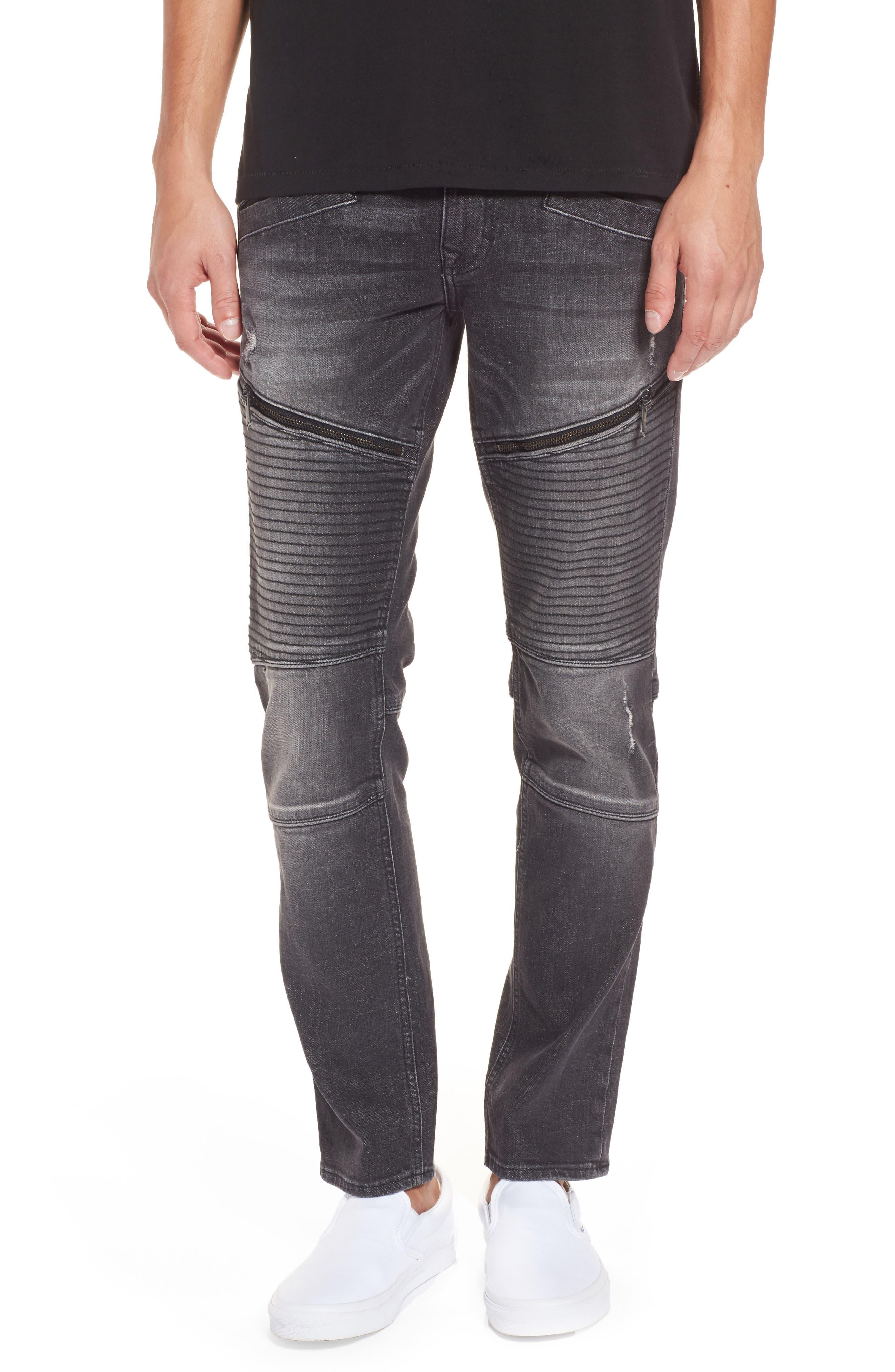 Biker Denim Jeans,                         Main,                         color, Black