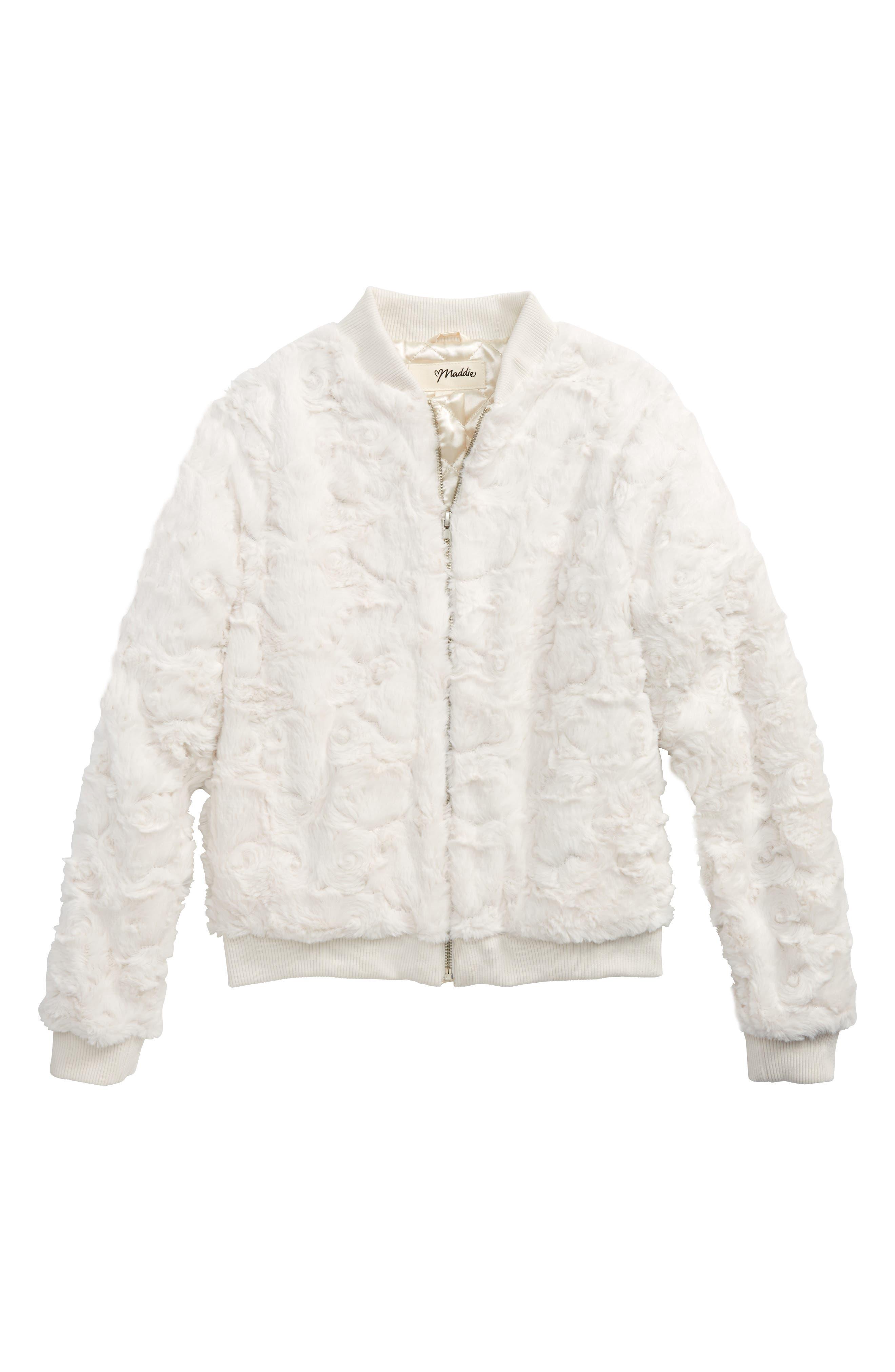 Maddie Faux Fur Bomber Jacket (Big Girls)
