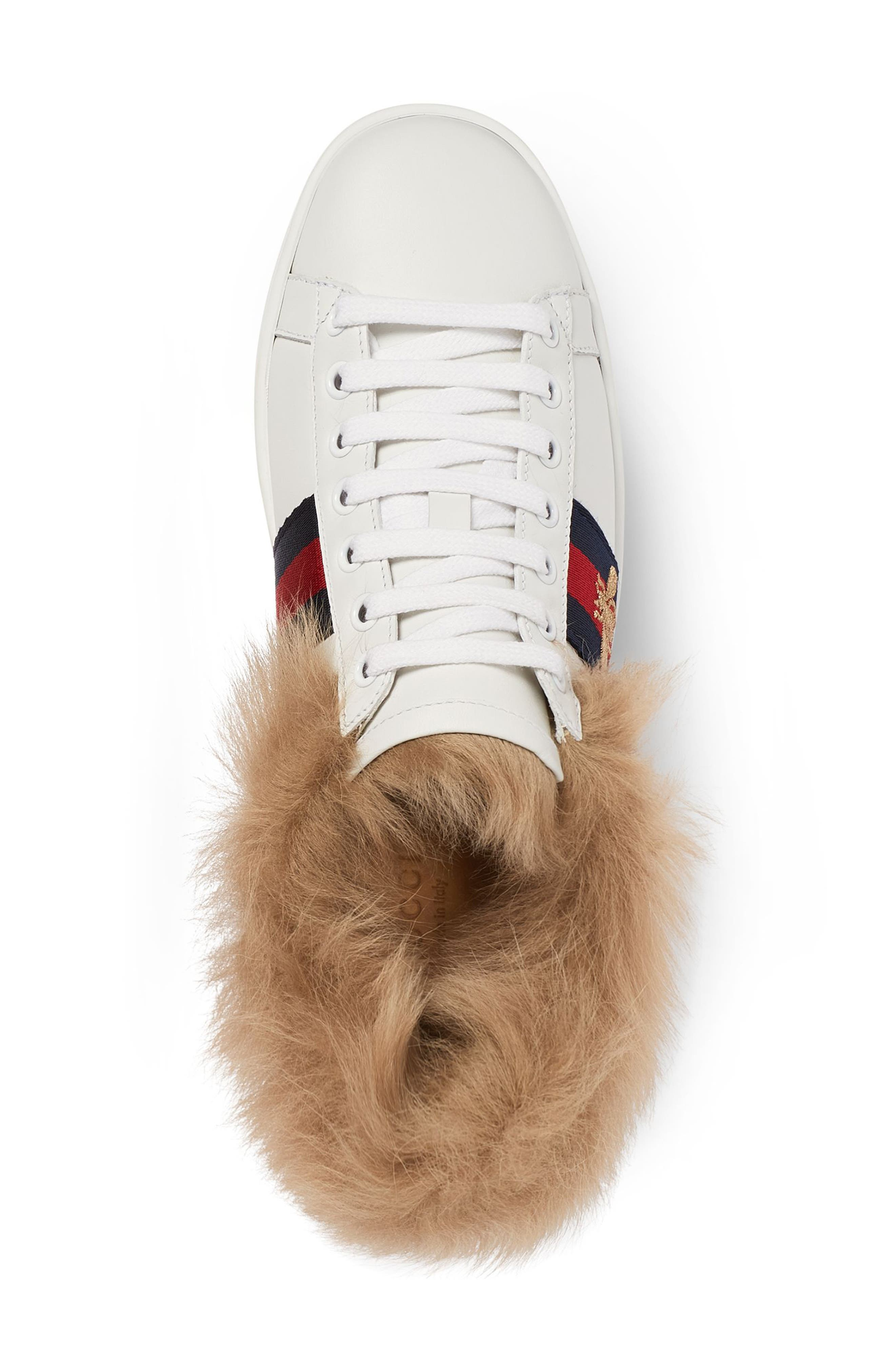 New Ace Genuine Shearling Lining Sneaker,                             Alternate thumbnail 3, color,                             White