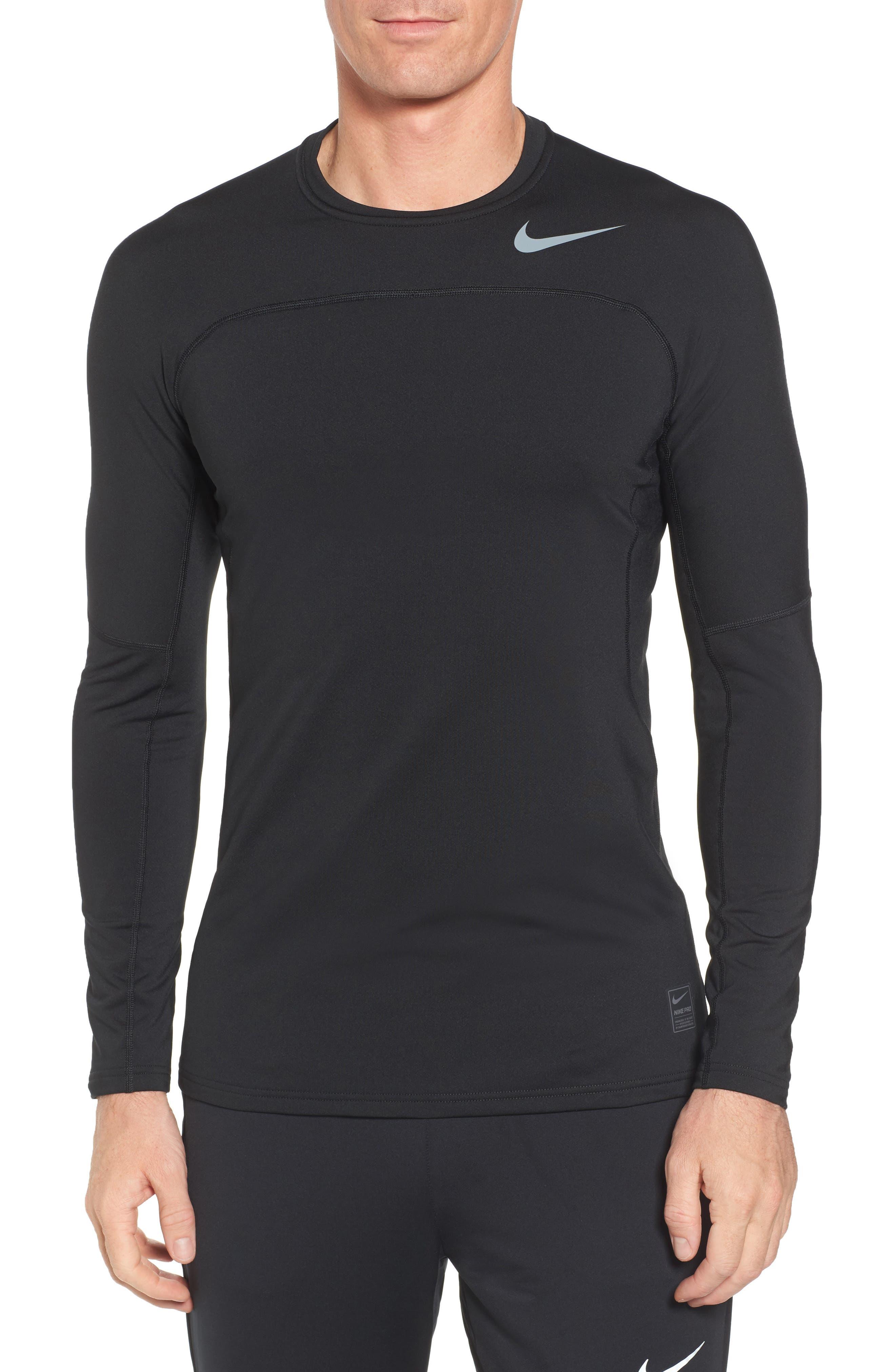 Pro Long Sleeve Training T-Shirt,                         Main,                         color, Black/ Cool Grey/ Cool Grey