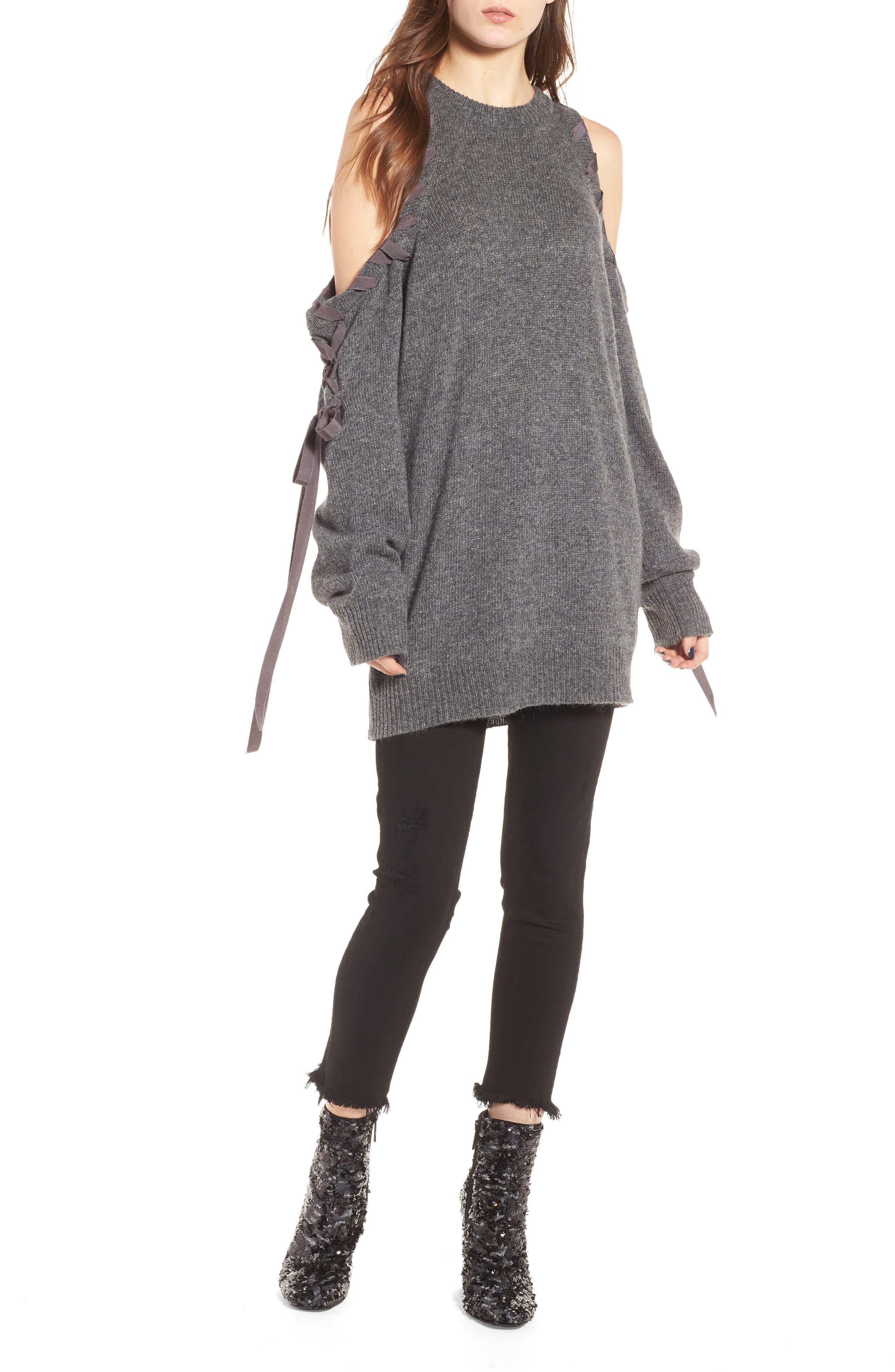 Lace-Up Cold Shoulder Minidress,                         Main,                         color, Medium Heather Grey