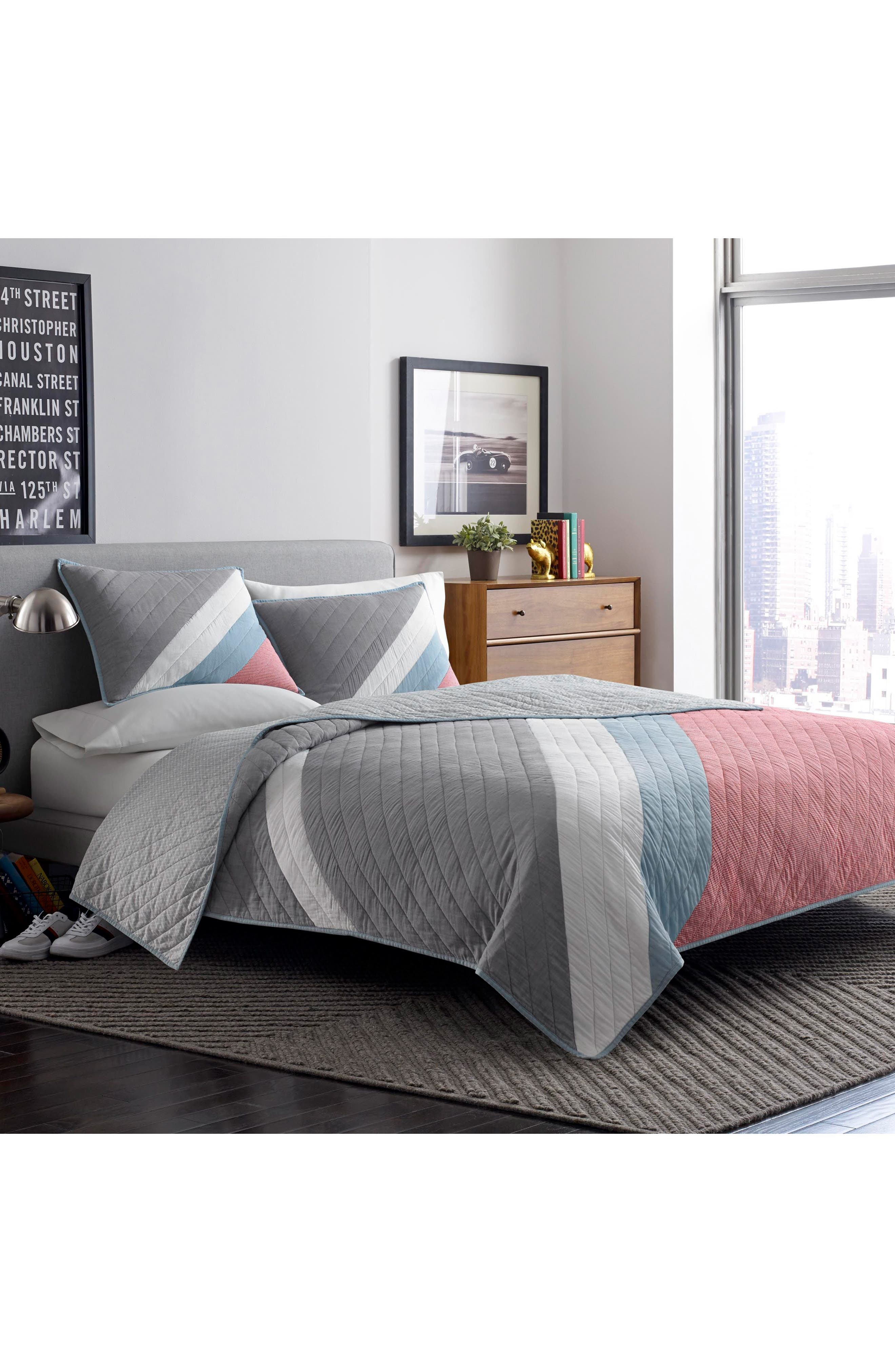 Nolan Reversible Pieced Quilt,                         Main,                         color, Open Med Red