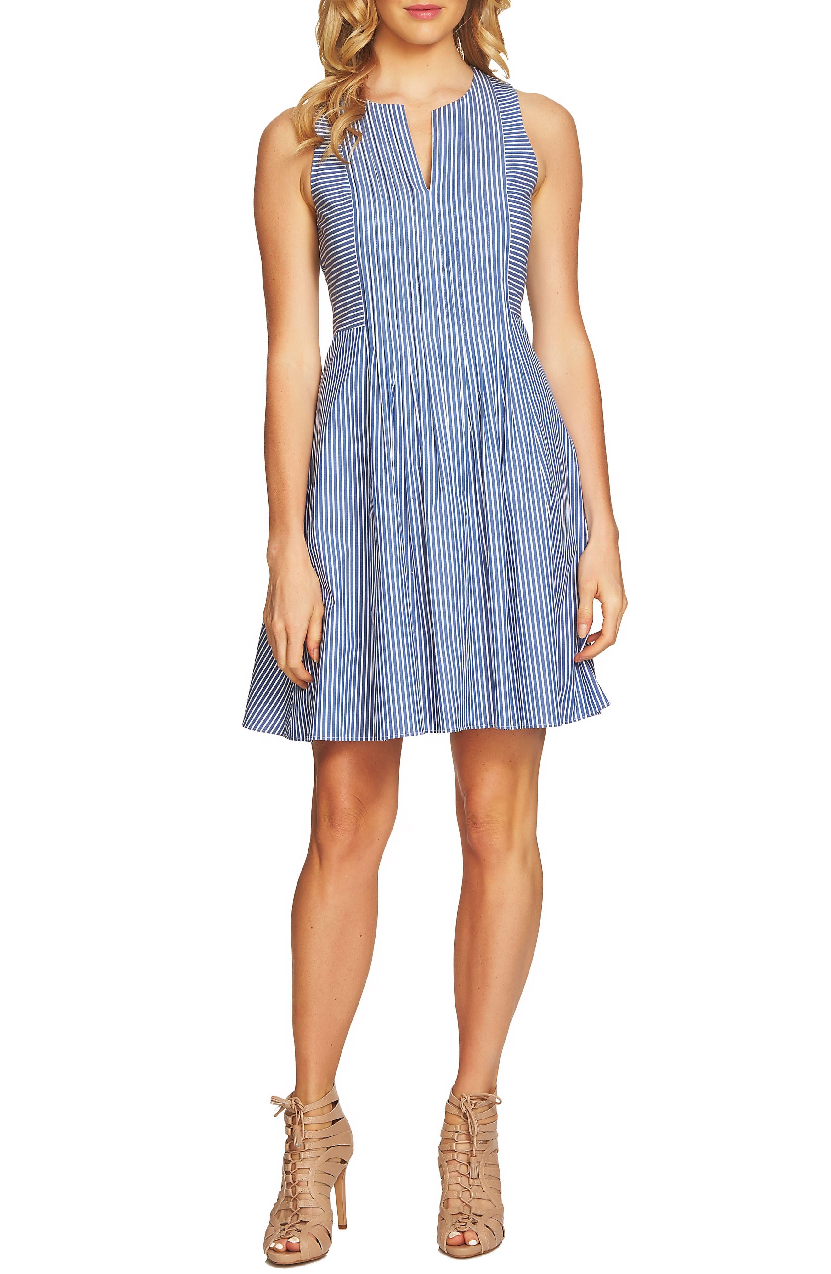 Pintuck Stripe A-Line Dress,                         Main,                         color, Deep Sapphire