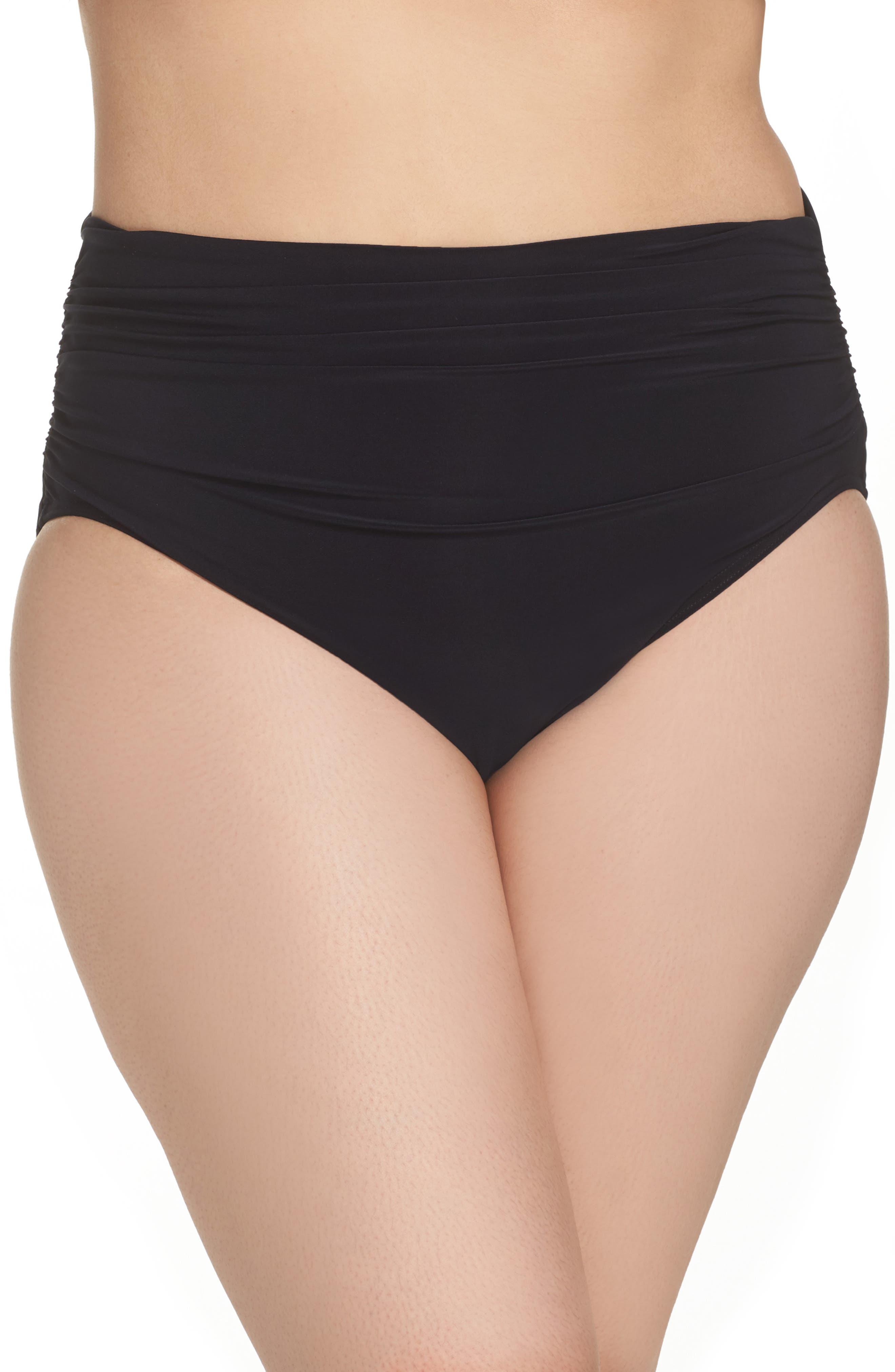 Ruched Bikini Bottoms,                         Main,                         color, Black
