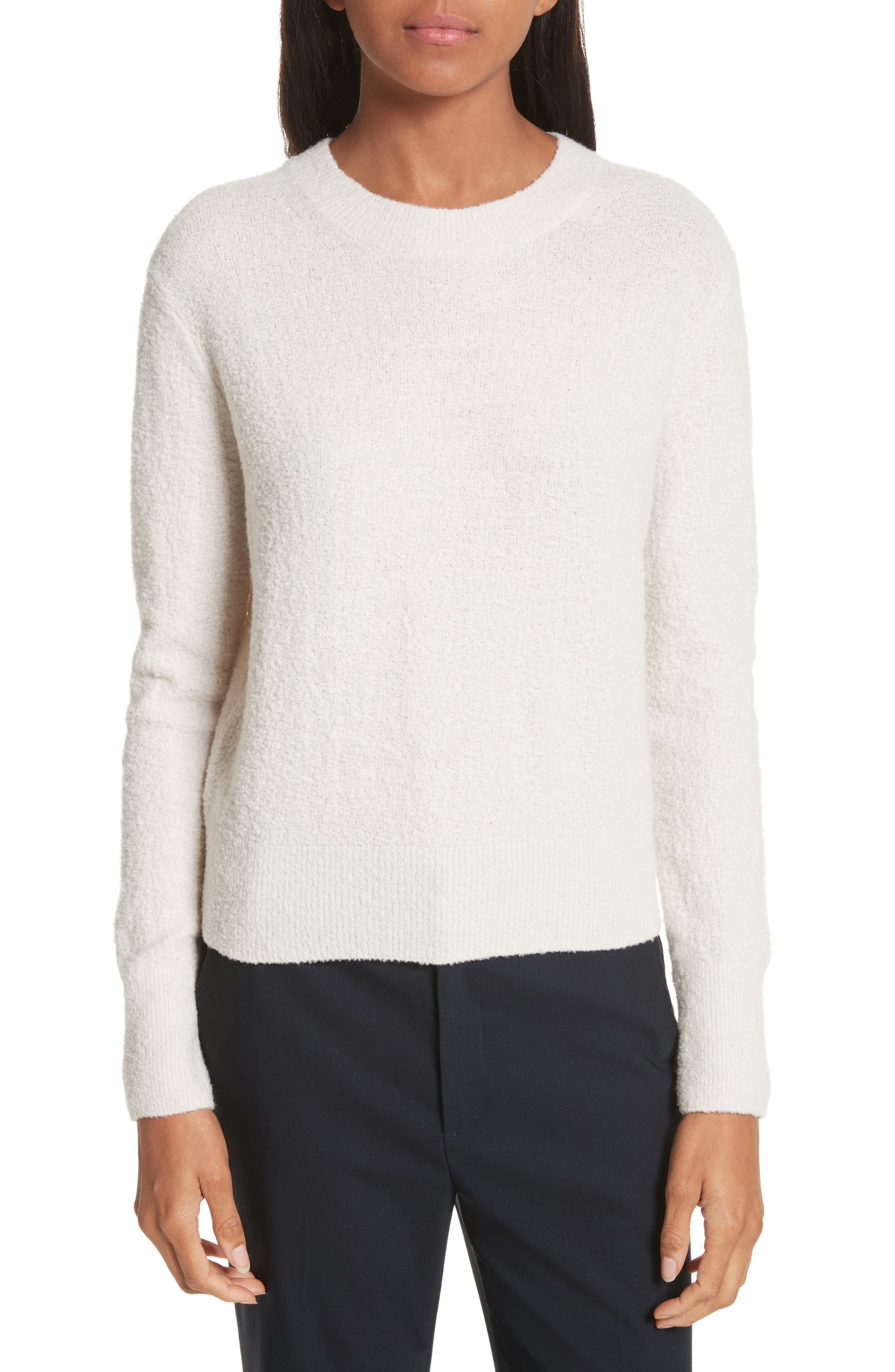 Crewneck Wool Blend Sweater,                             Main thumbnail 1, color,                             Off White