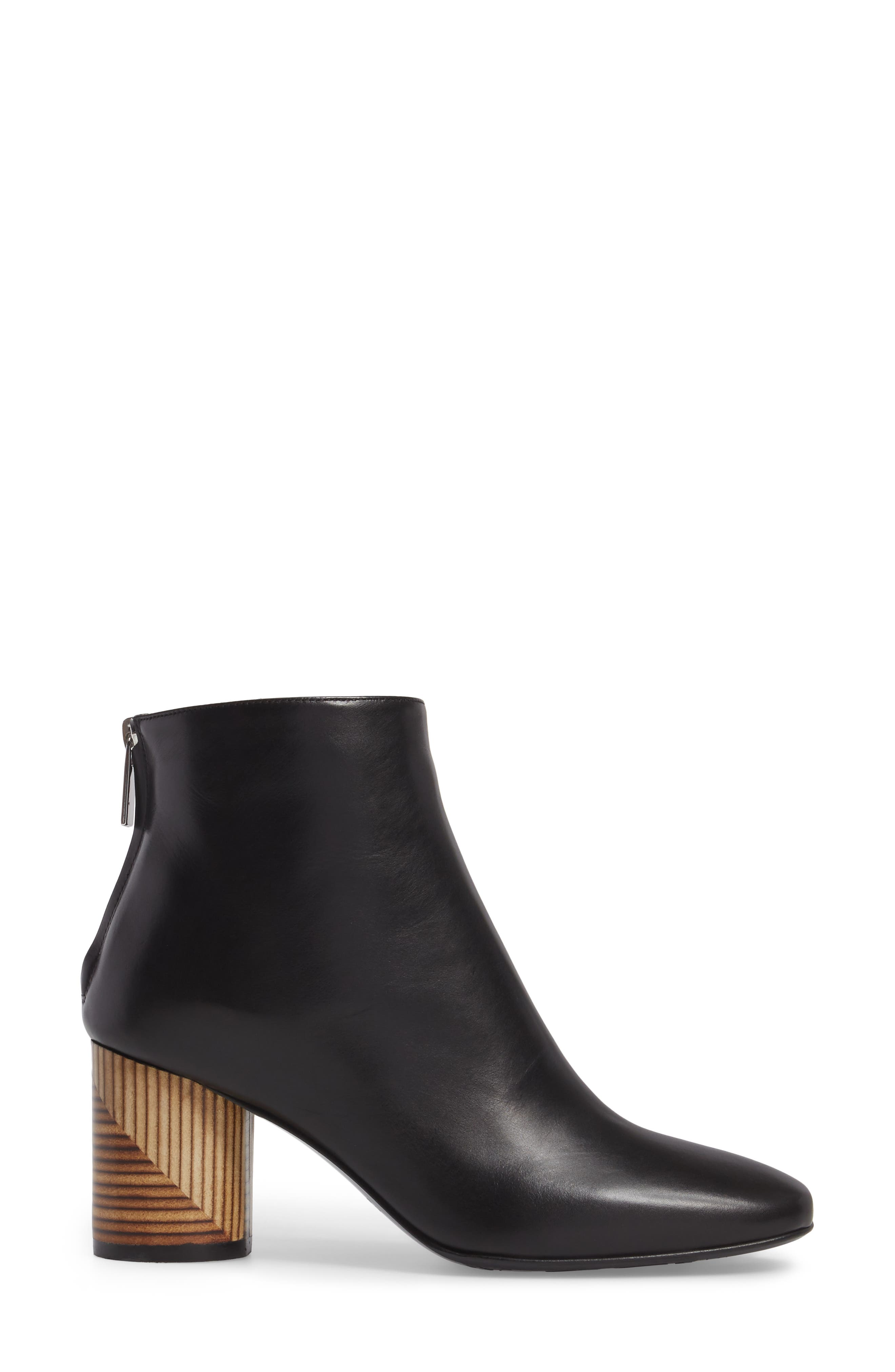 Francesca Block Heel Boot,                             Alternate thumbnail 3, color,                             Black Leather