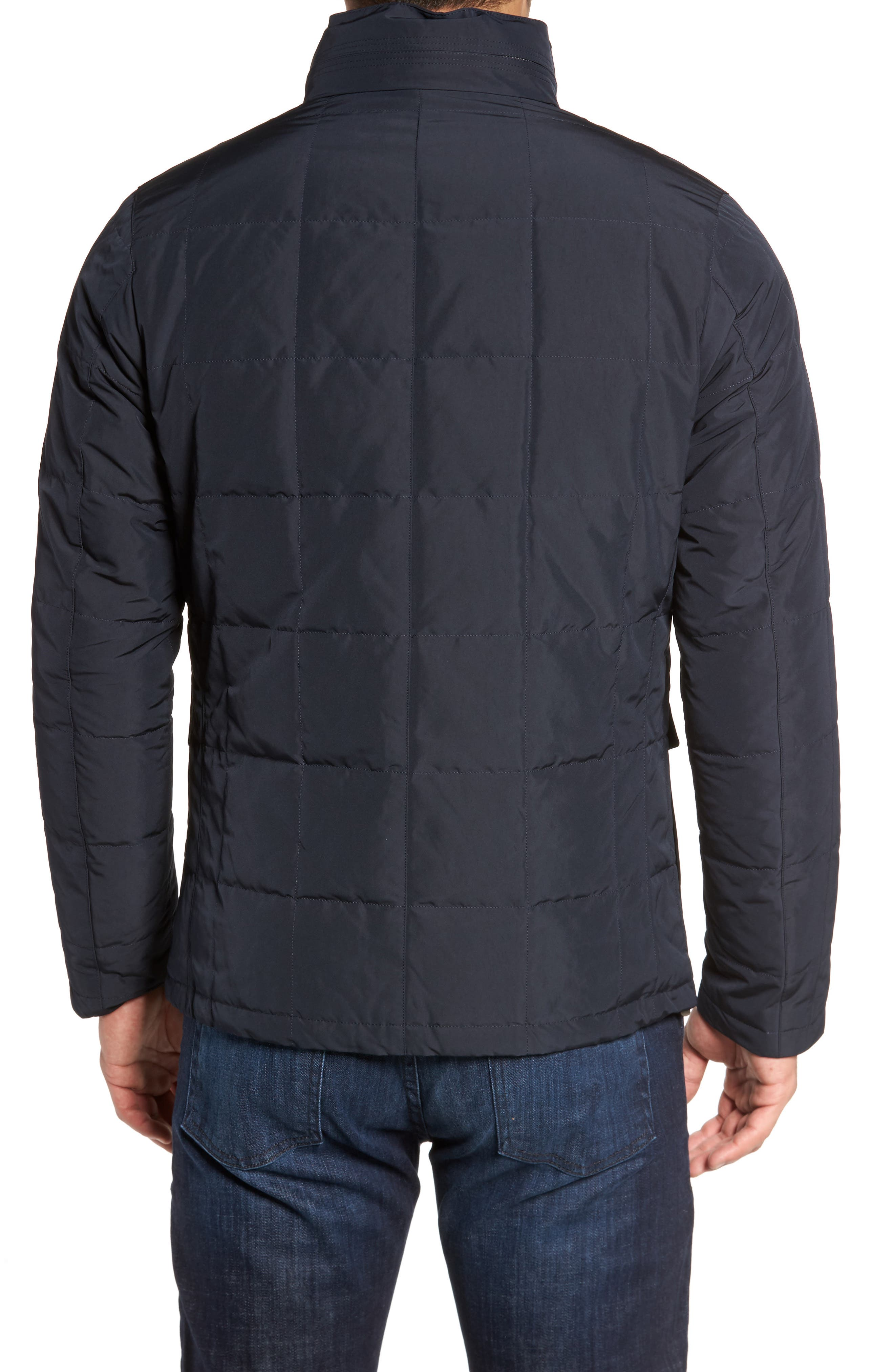 Quilted Down Field Jacket with Stowaway Hood,                             Alternate thumbnail 2, color,                             Midnight