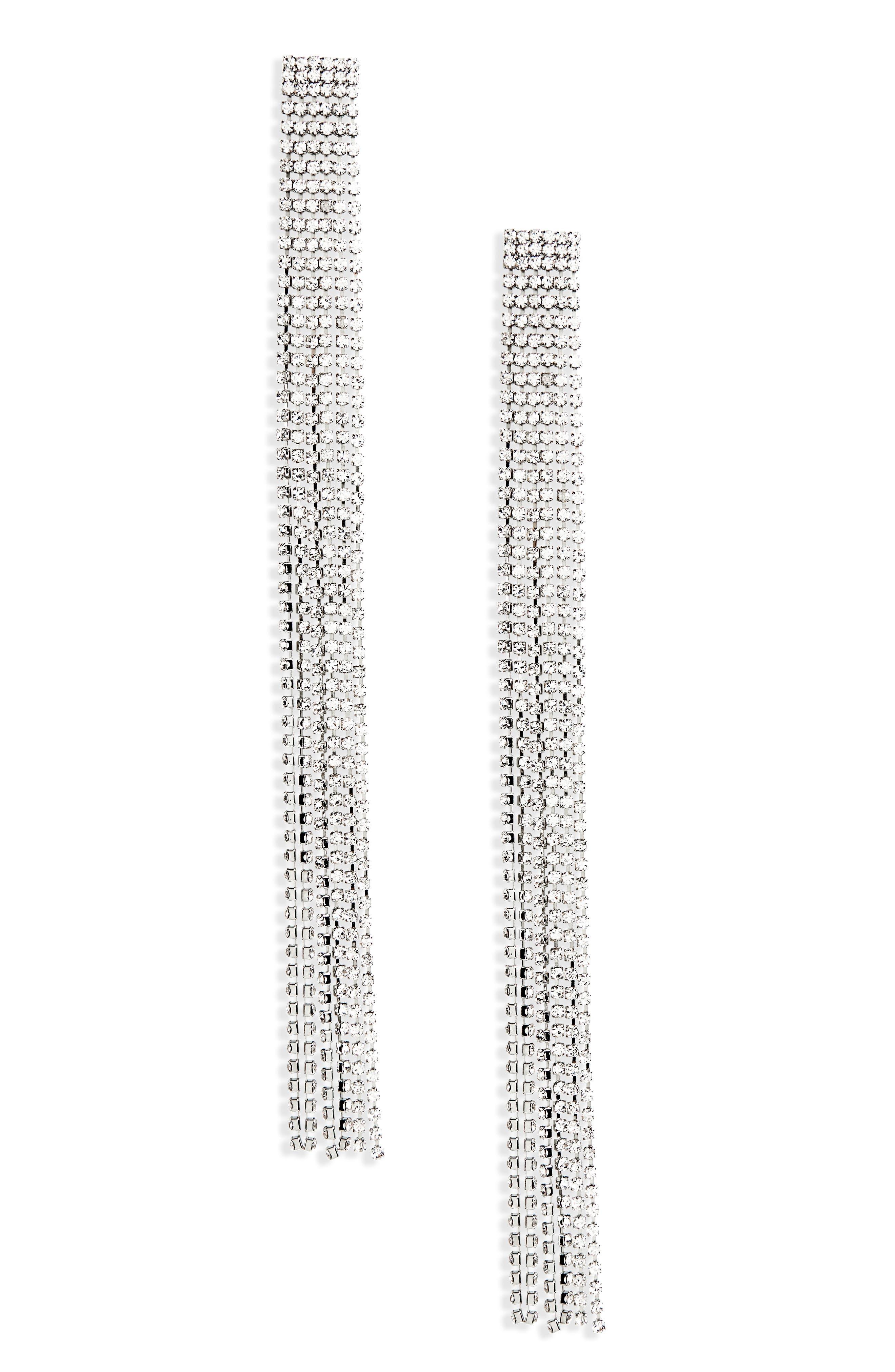 Long Crystal Tassel Earrings,                         Main,                         color, Silver