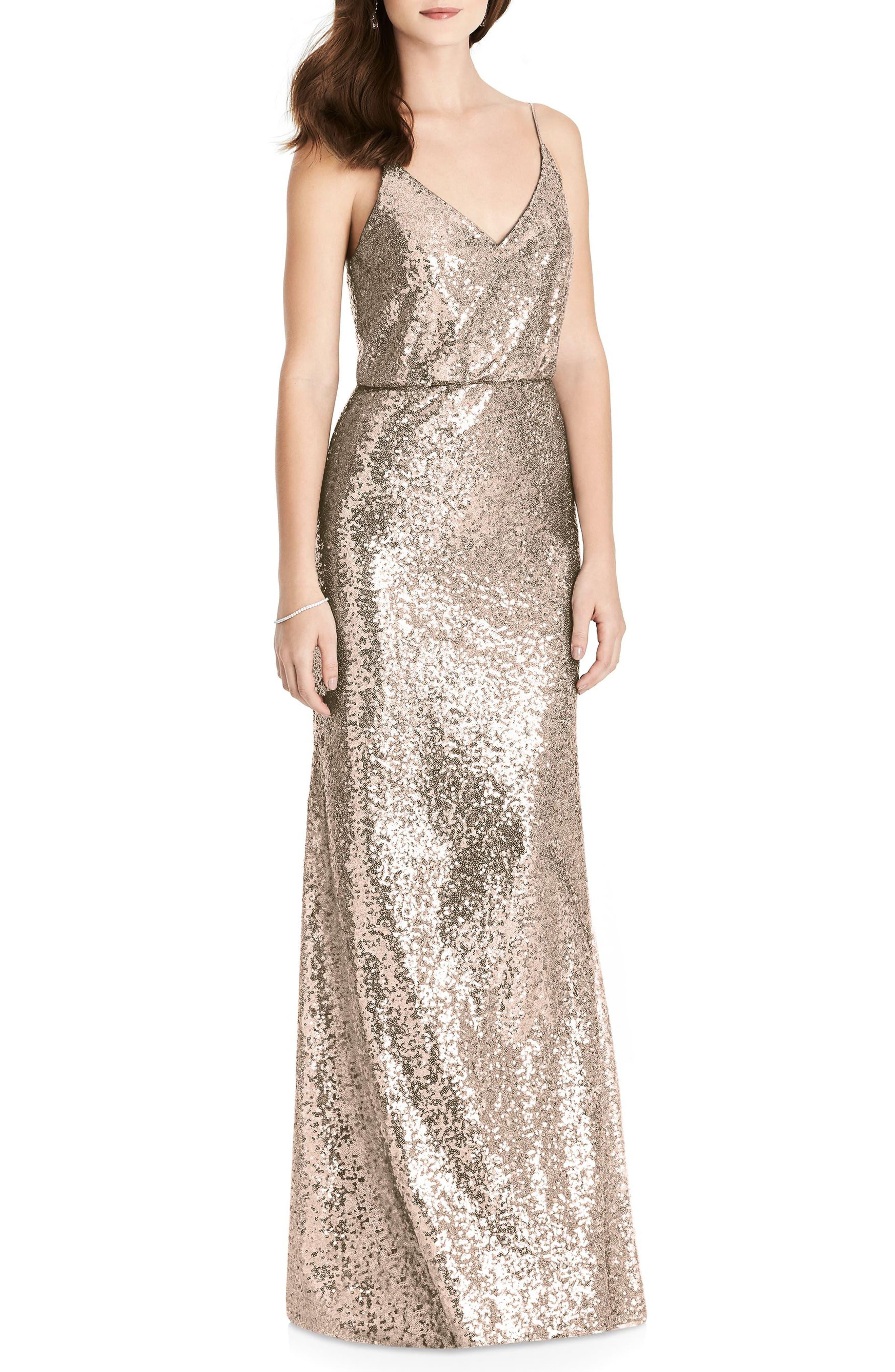 Sequin Blouson Gown,                         Main,                         color, Rose Gold
