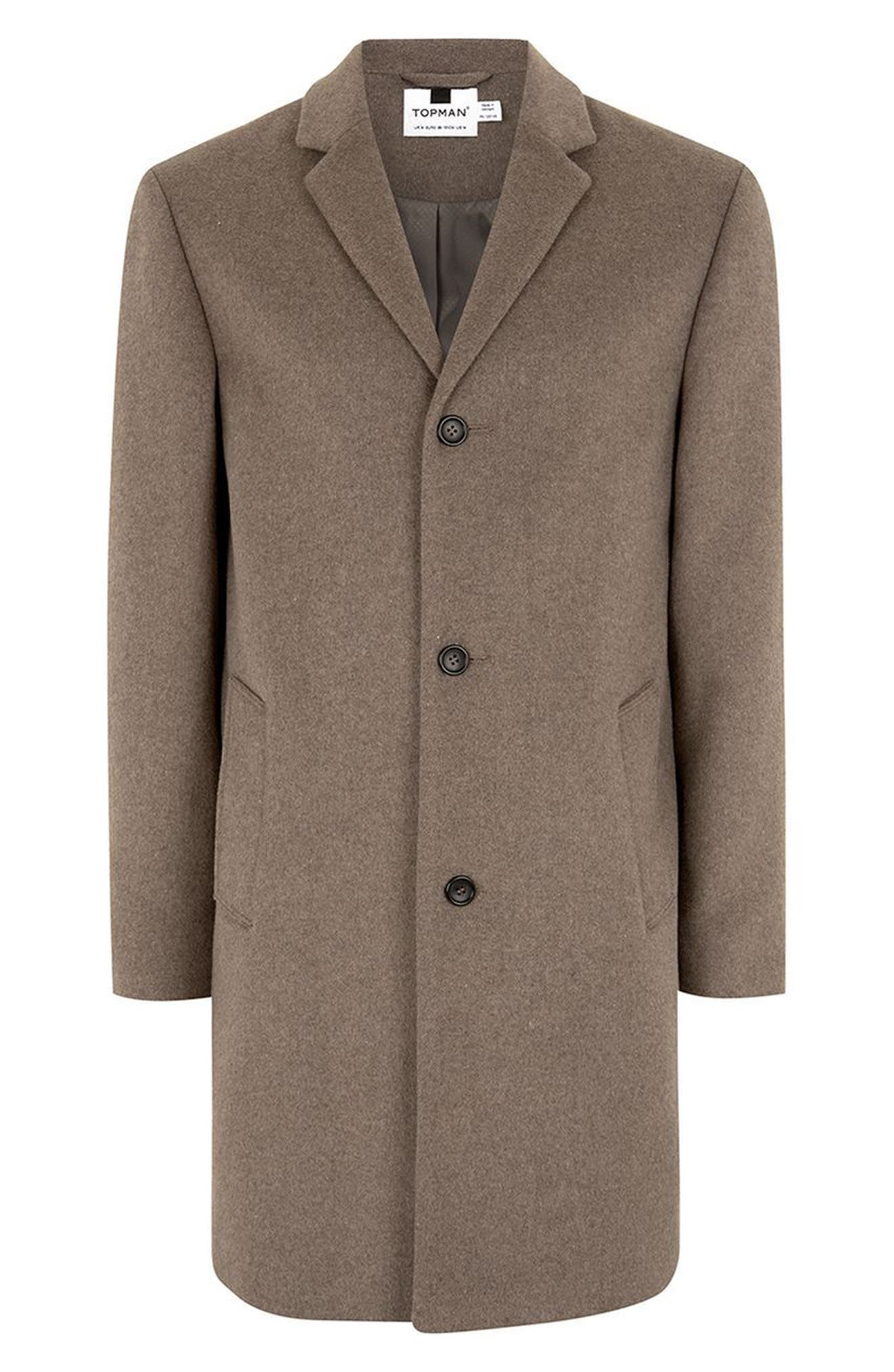 Classic Fit Overcoat,                             Alternate thumbnail 4, color,                             Brown