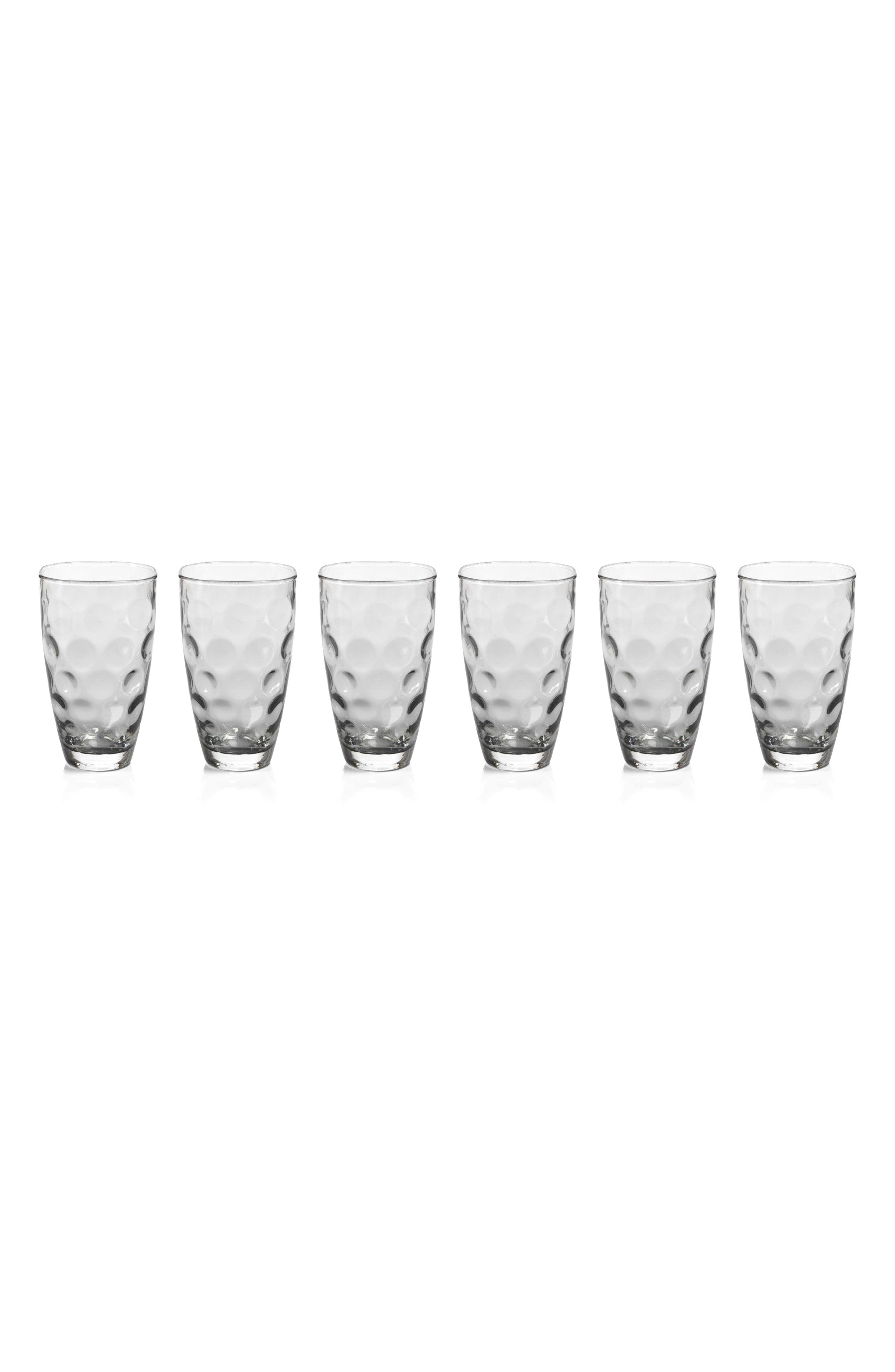 Dimpled Set of 6 Highball Glasses,                             Main thumbnail 1, color,                             Clear/ Grey
