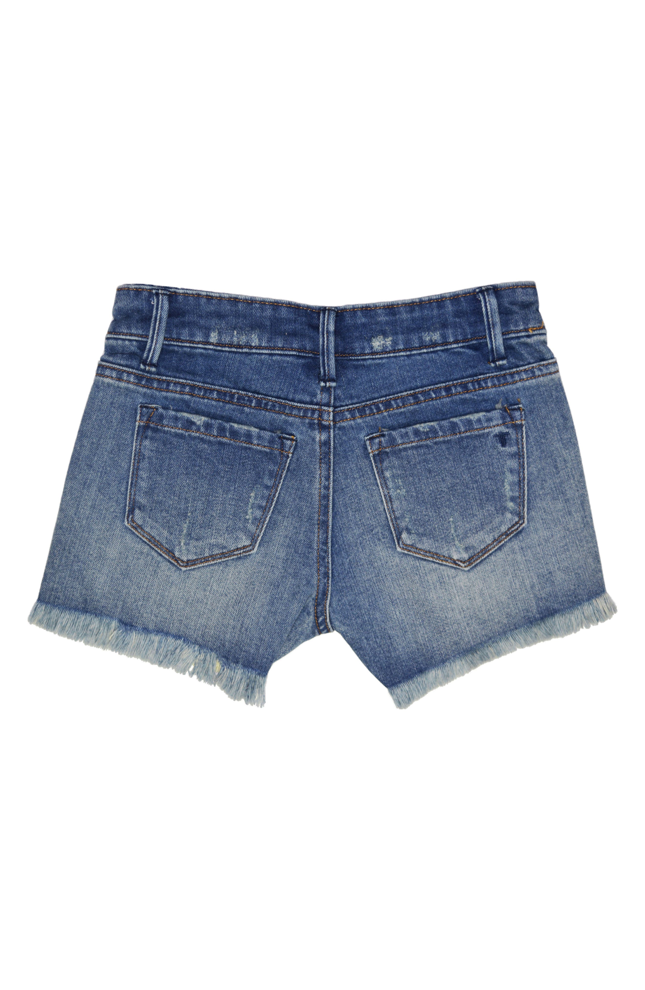 Beaded Distressed Denim Shorts,                             Alternate thumbnail 2, color,                             Indigo