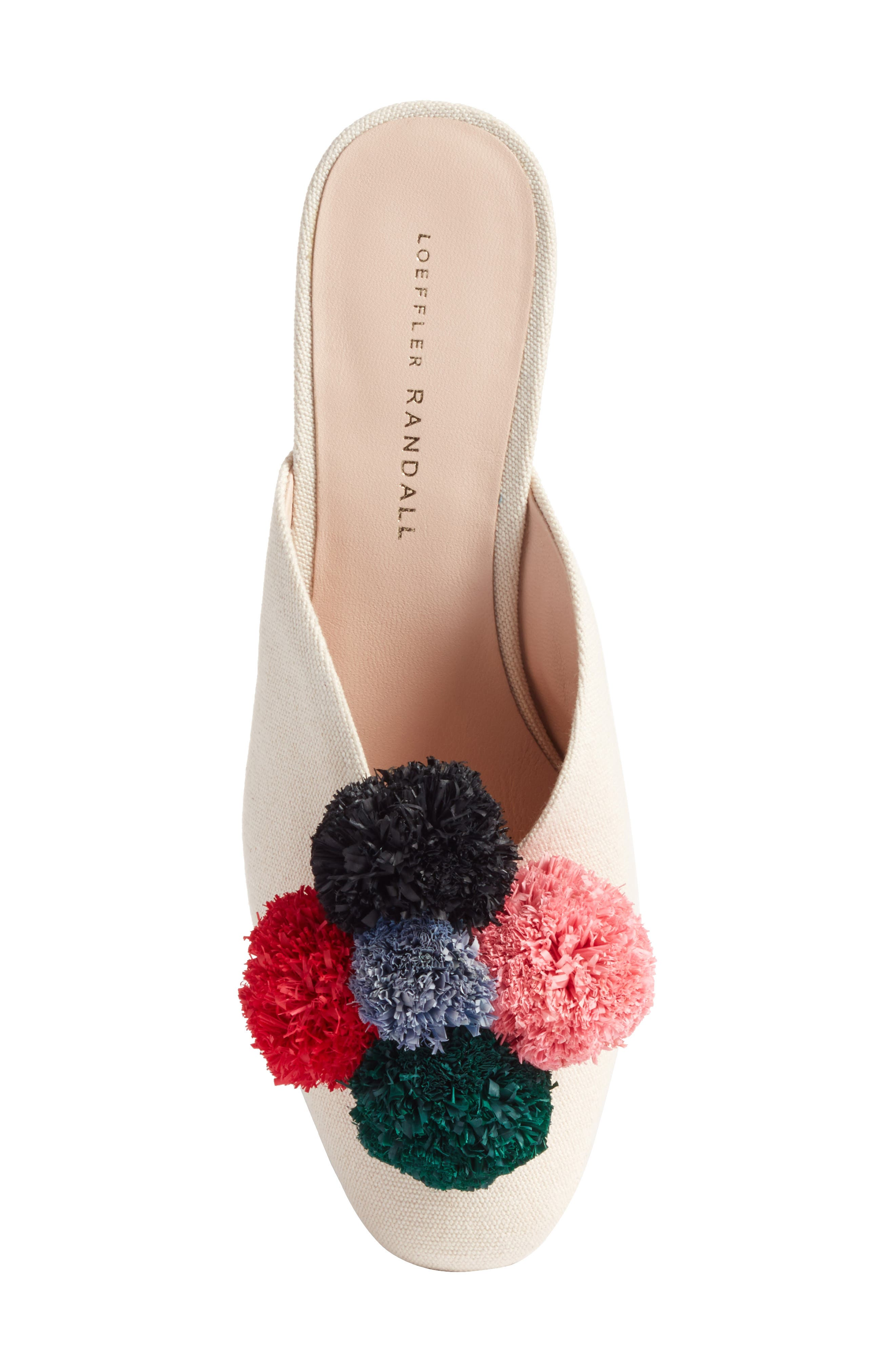 Lulu Pom Block Heel Mule,                             Alternate thumbnail 4, color,                             Natural/ Multi