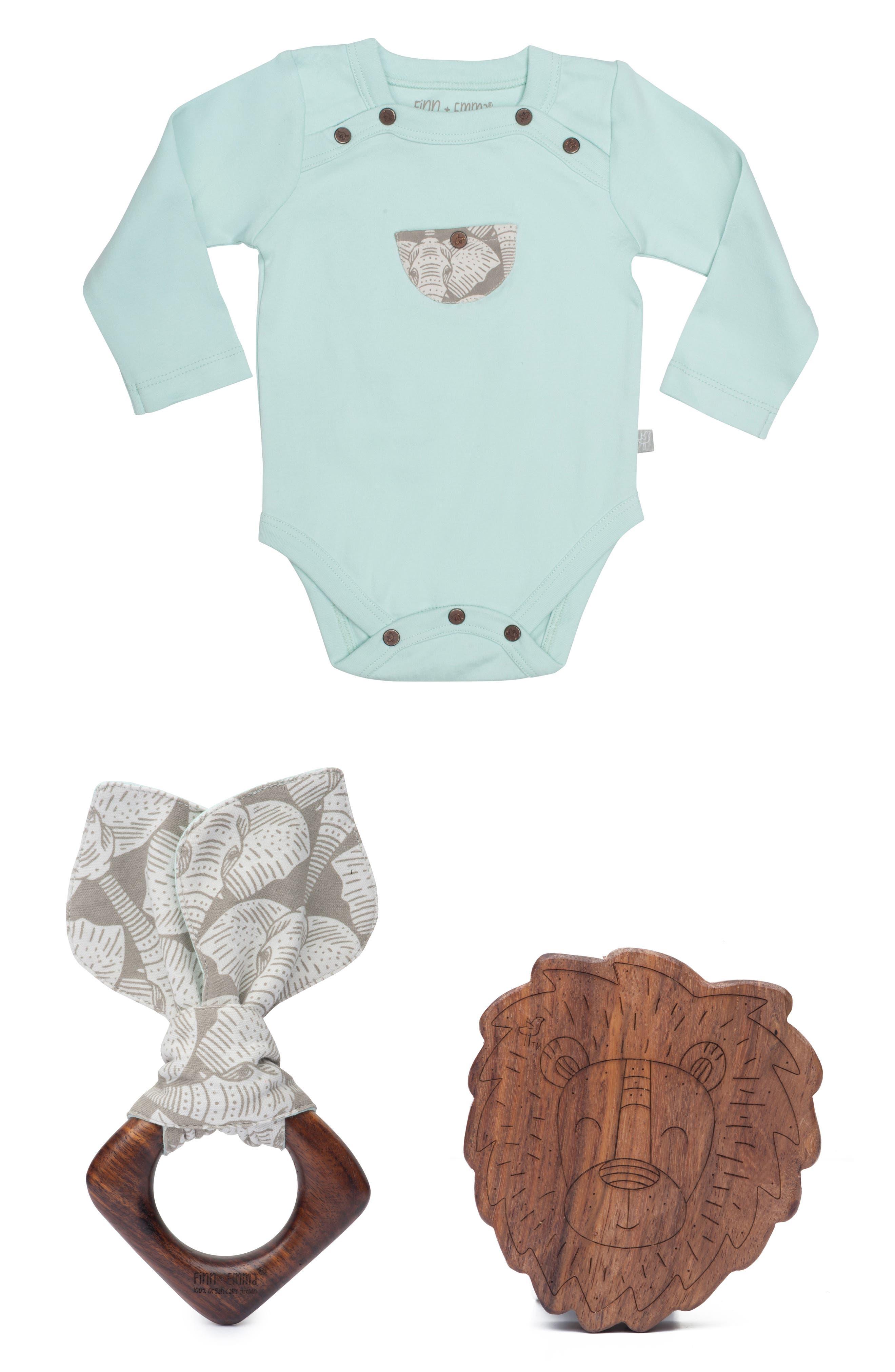 Main Image - Finn + Emma Organic Cotton Bodysuit, Hardwood Teething Ring & Rattle Set (Baby)