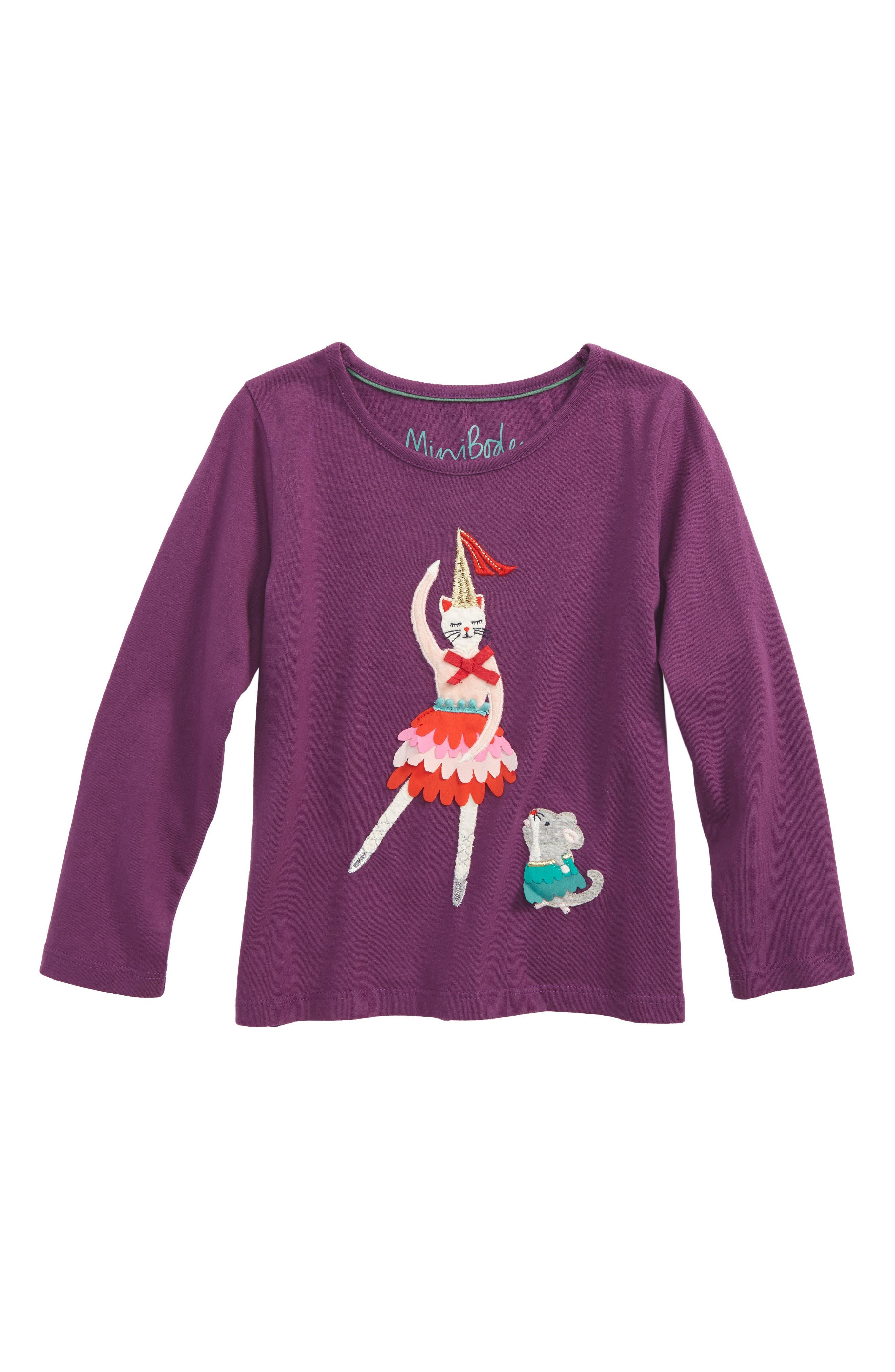 Mini Boden Pretty Festive Patchwork Appliqué Tee (Toddler Girls, Little Girls & Big Girls)