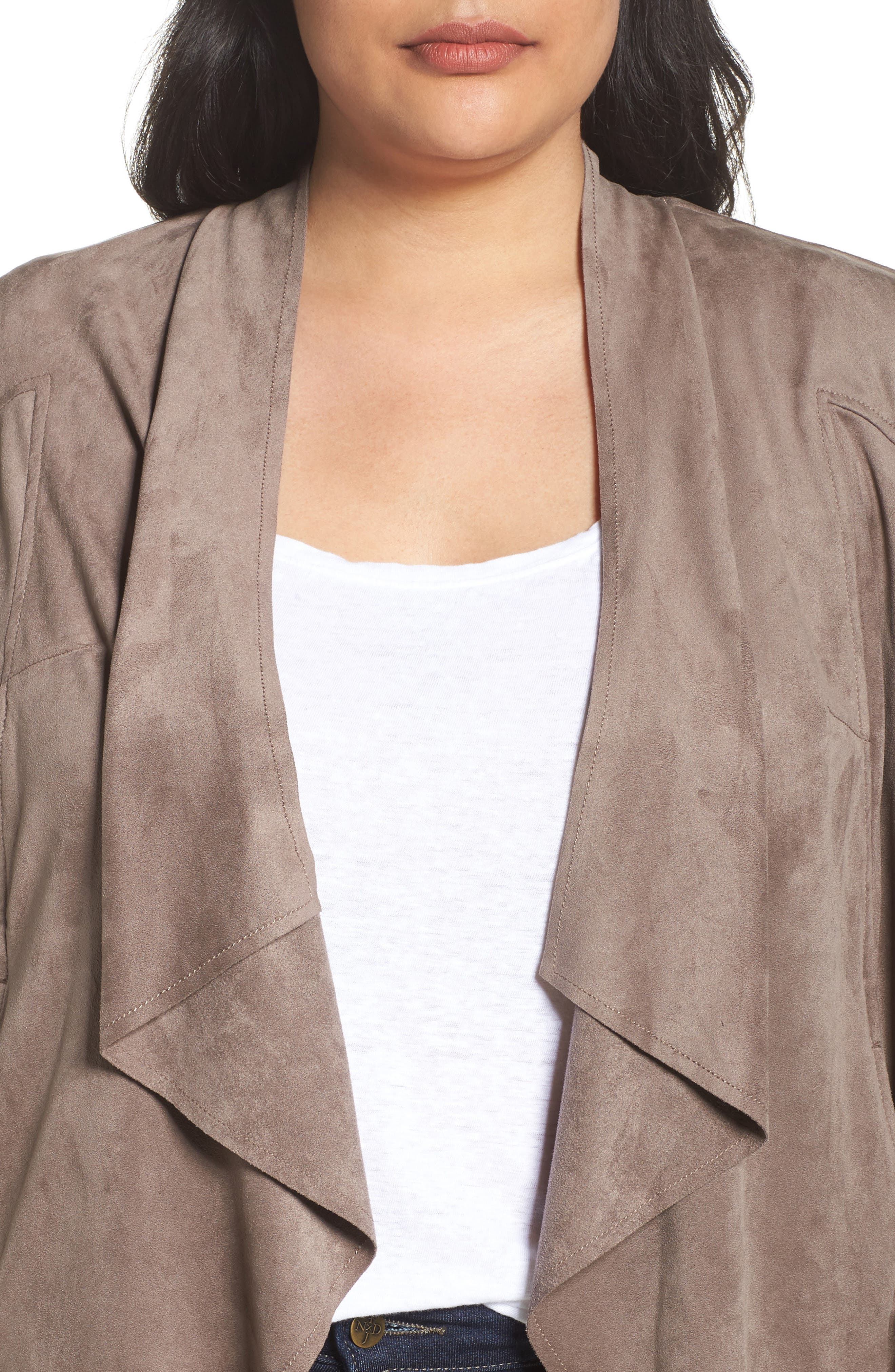 Alternate Image 4  - KUT from the Kloth Drape Front Faux Suede Jacket (Plus Size)