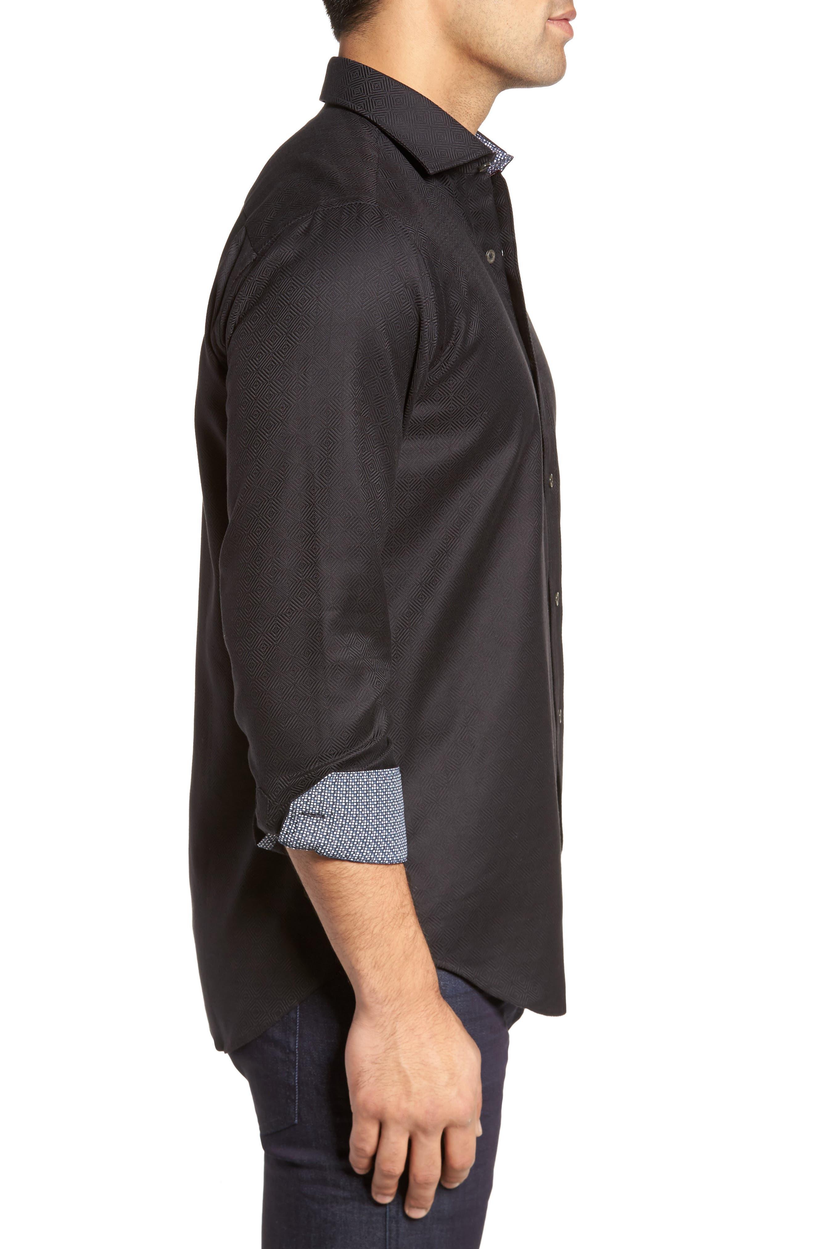 Slim Fit Diamond Jacquard Sport Shirt,                             Alternate thumbnail 3, color,                             Black