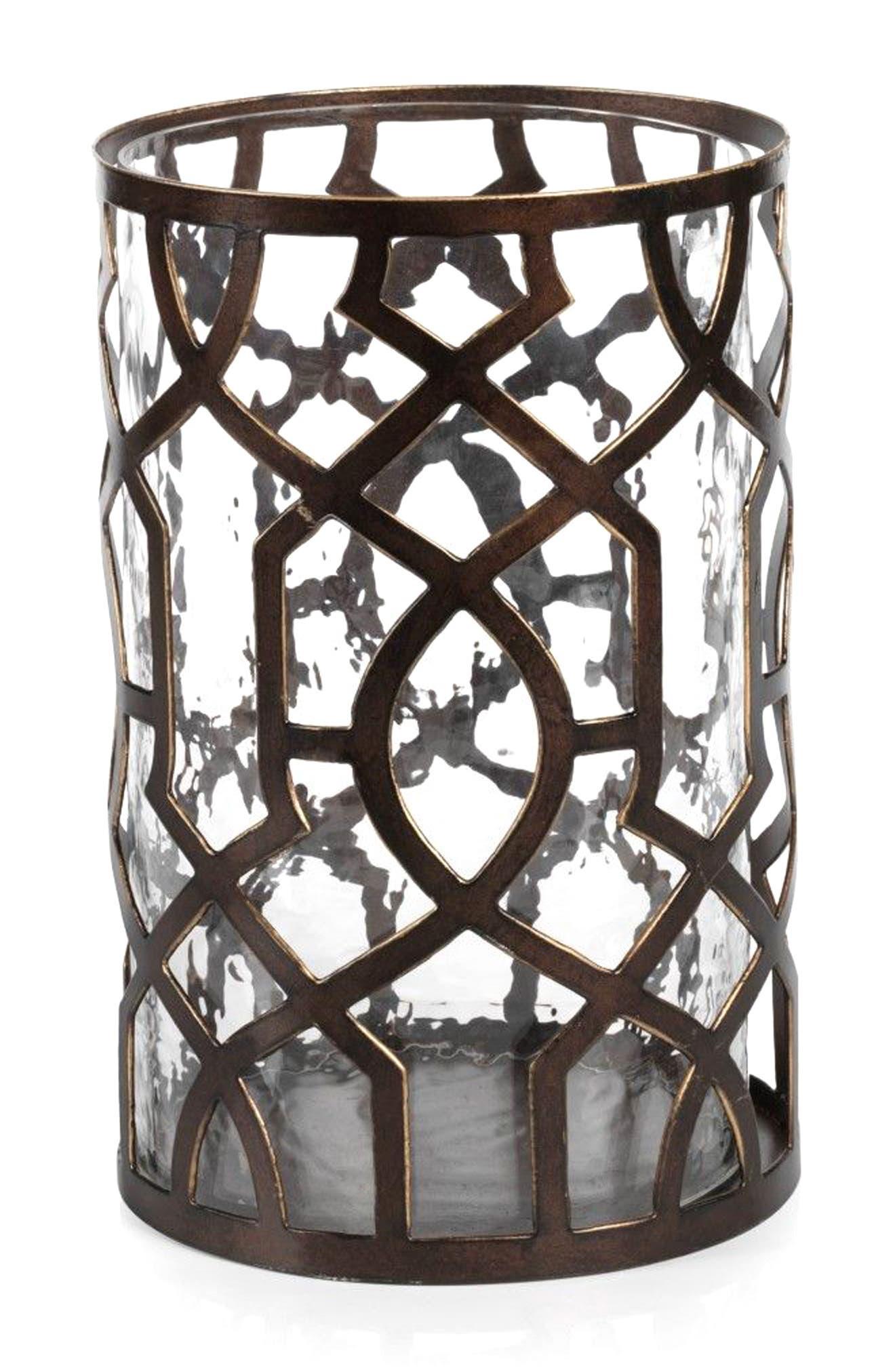 Large Trocadero Hurricane Candle Holder,                         Main,                         color, Metallic/ Silver/ Grey