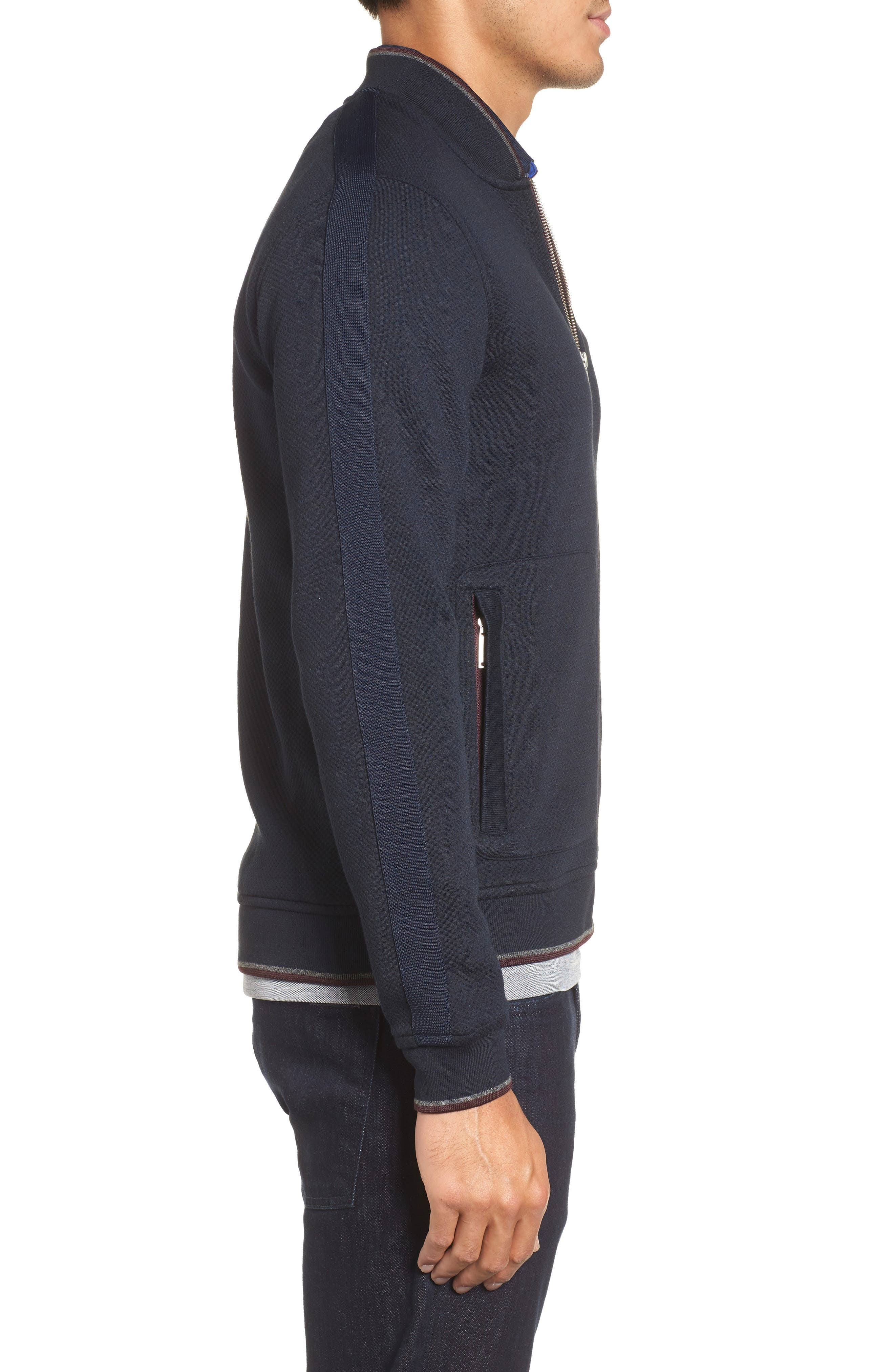 Whatts Trim Fit Textured Bomber Jacket,                             Alternate thumbnail 3, color,                             Navy