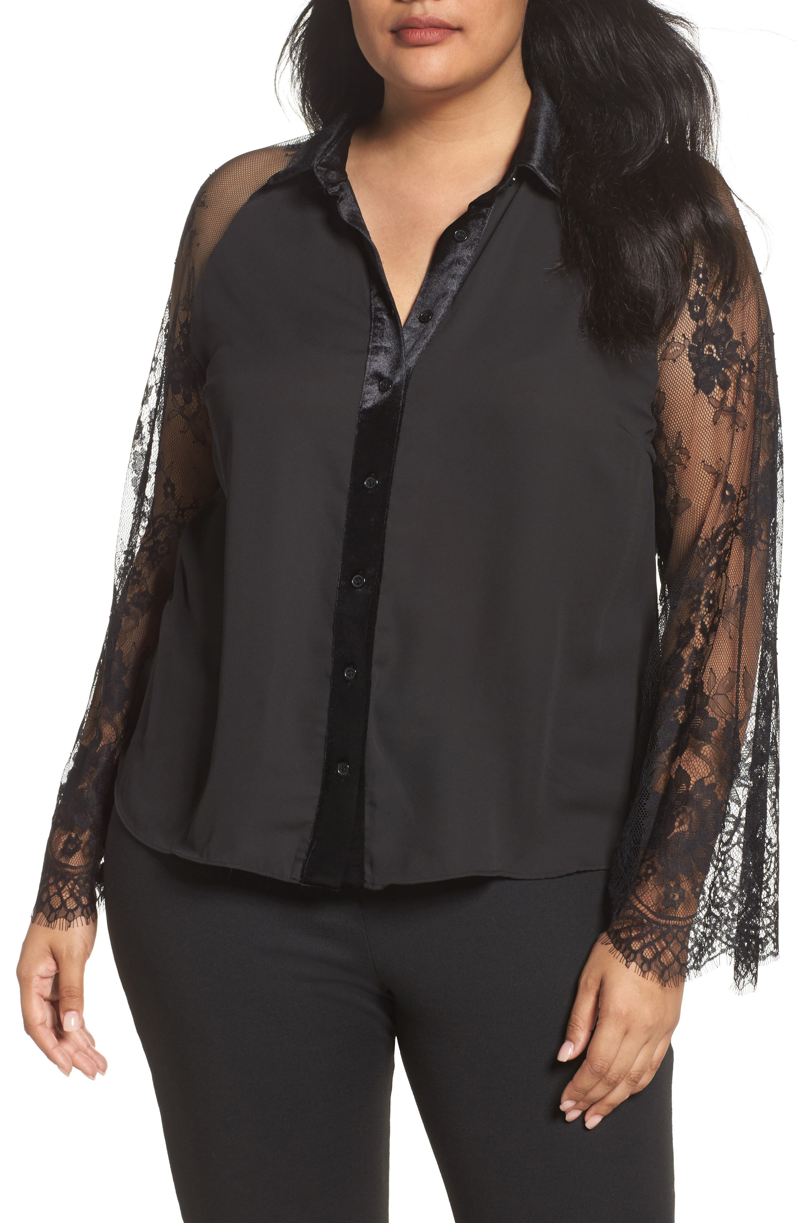 Lace Sleeve Shirt,                         Main,                         color, Black