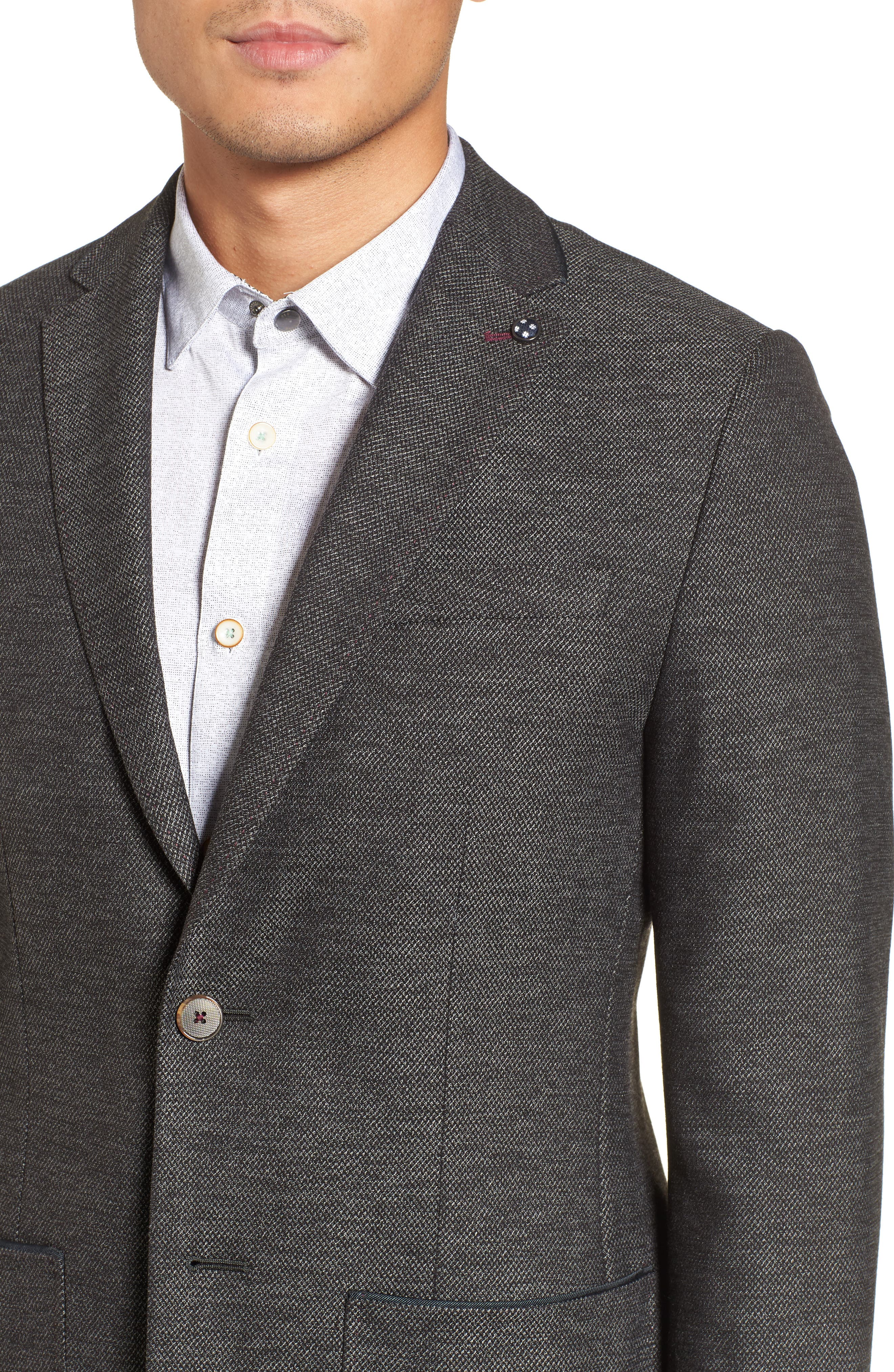 Port Slim Fit Jacket,                             Alternate thumbnail 4, color,                             Charcoal