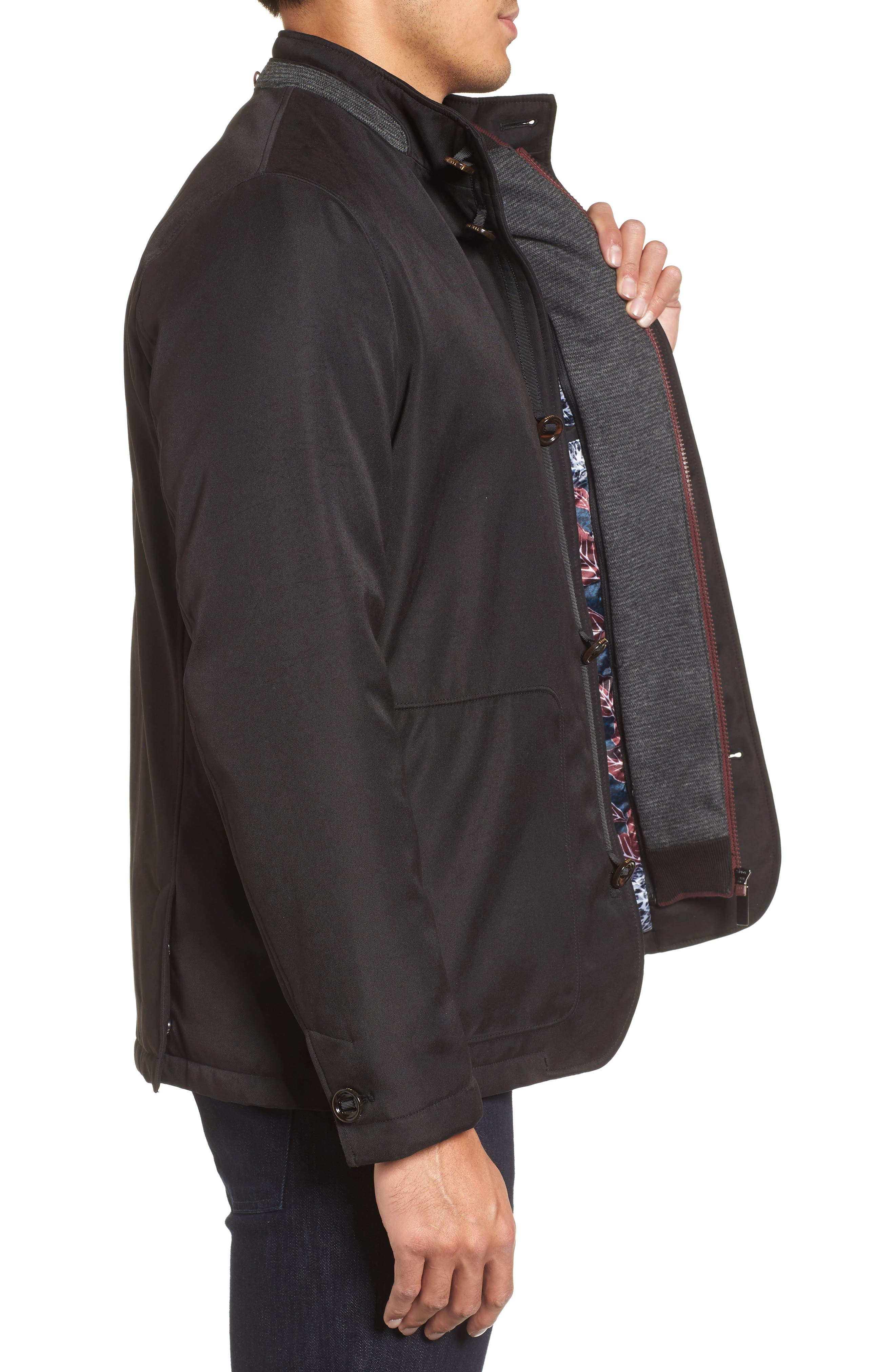 Humfre Knit Bib Inset Jacket,                             Alternate thumbnail 3, color,                             Black