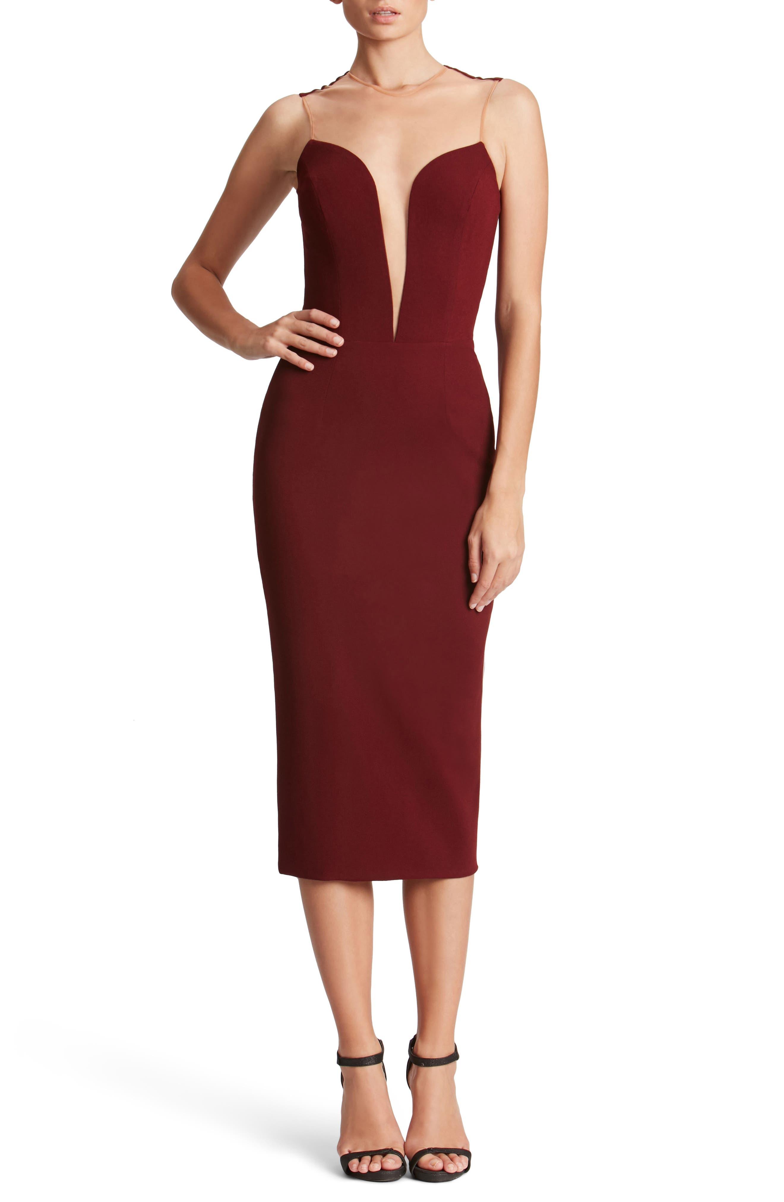 Helen Plunge Neck Midi Dress,                             Main thumbnail 1, color,                             Burgundy