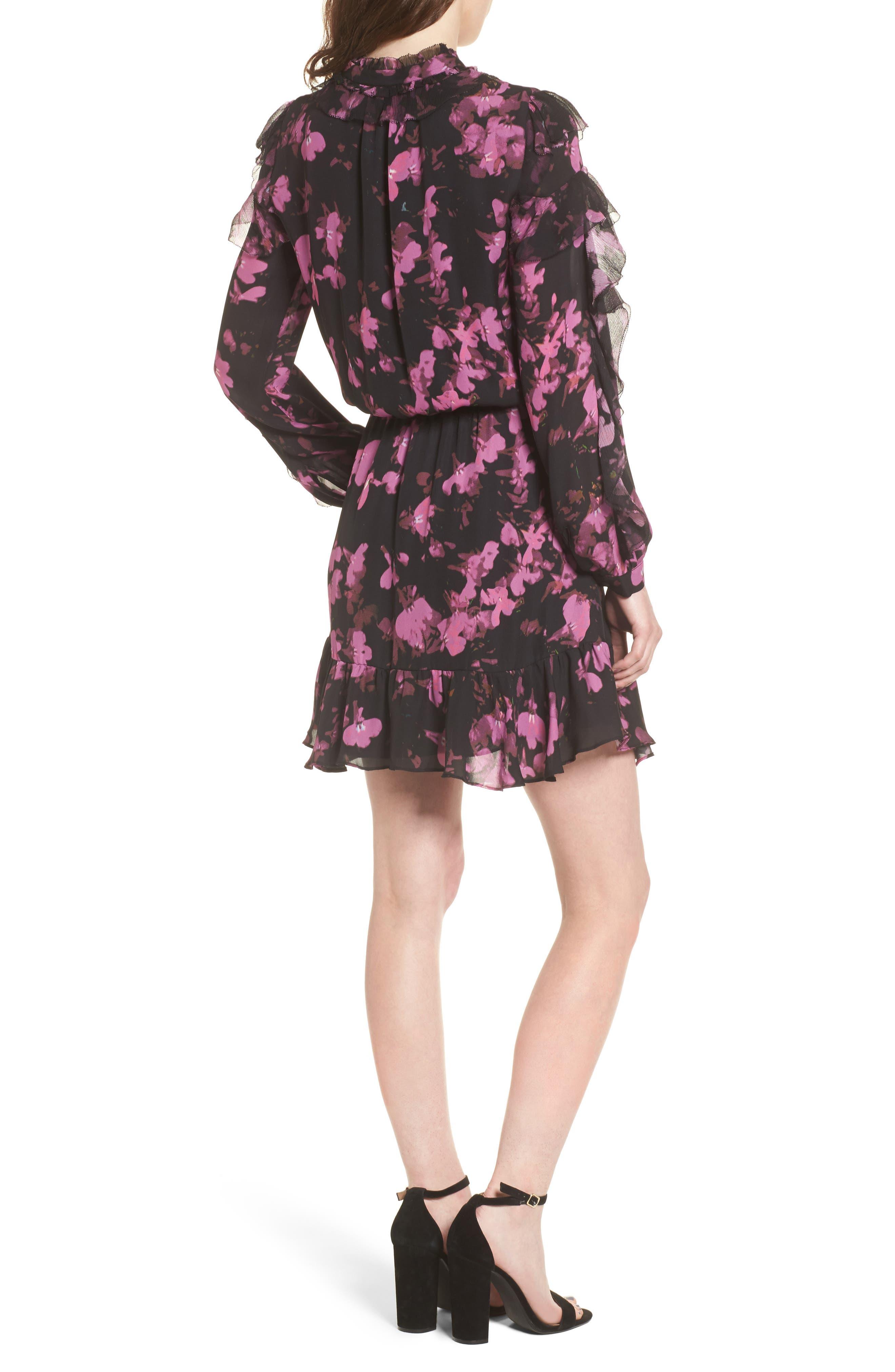 Zinnia Ruffle Silk Dress,                             Alternate thumbnail 2, color,                             Petalbloom