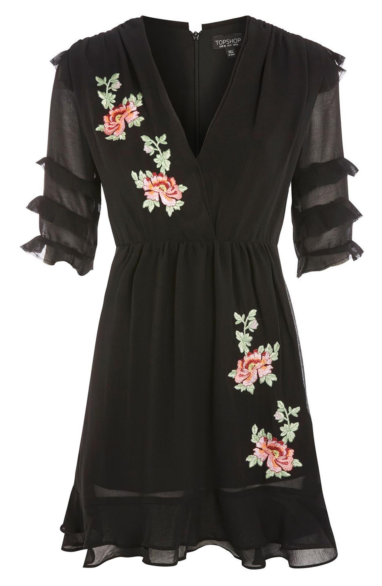 Embroidered Ruffle Detail Dress,                             Alternate thumbnail 4, color,                             Black Multi