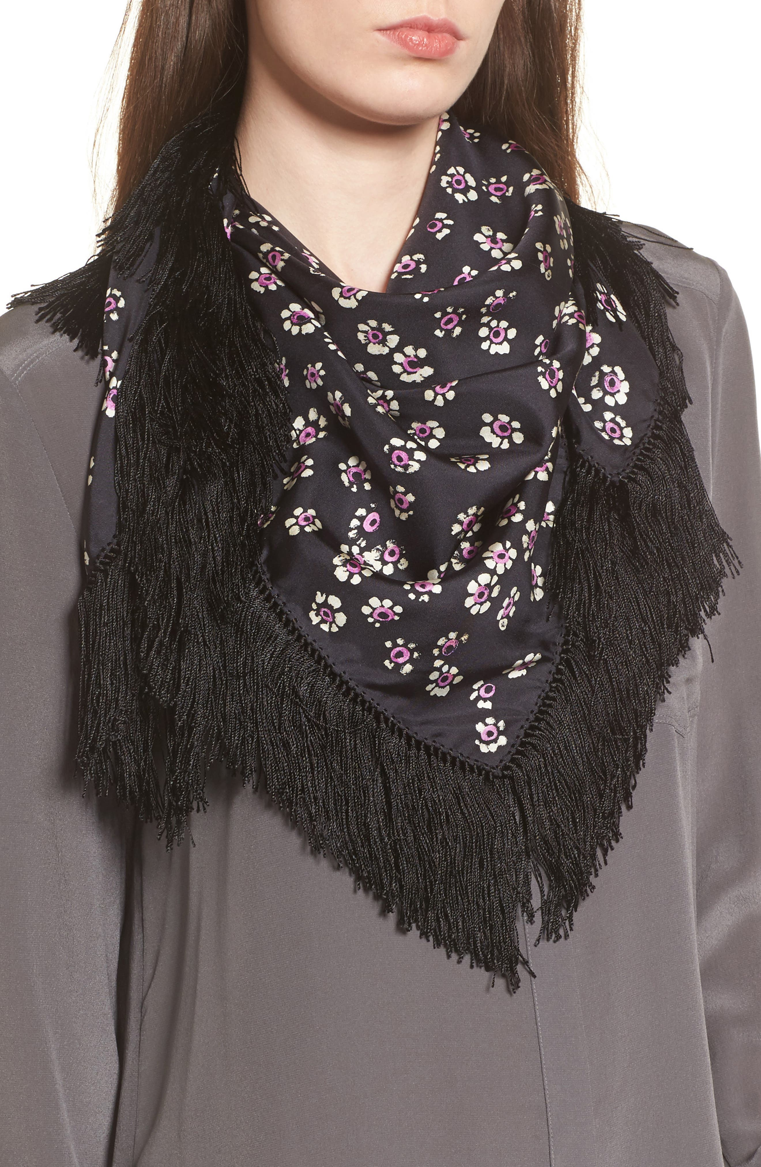 Fringed Square Silk Scarf,                         Main,                         color, Black Stamped Floral