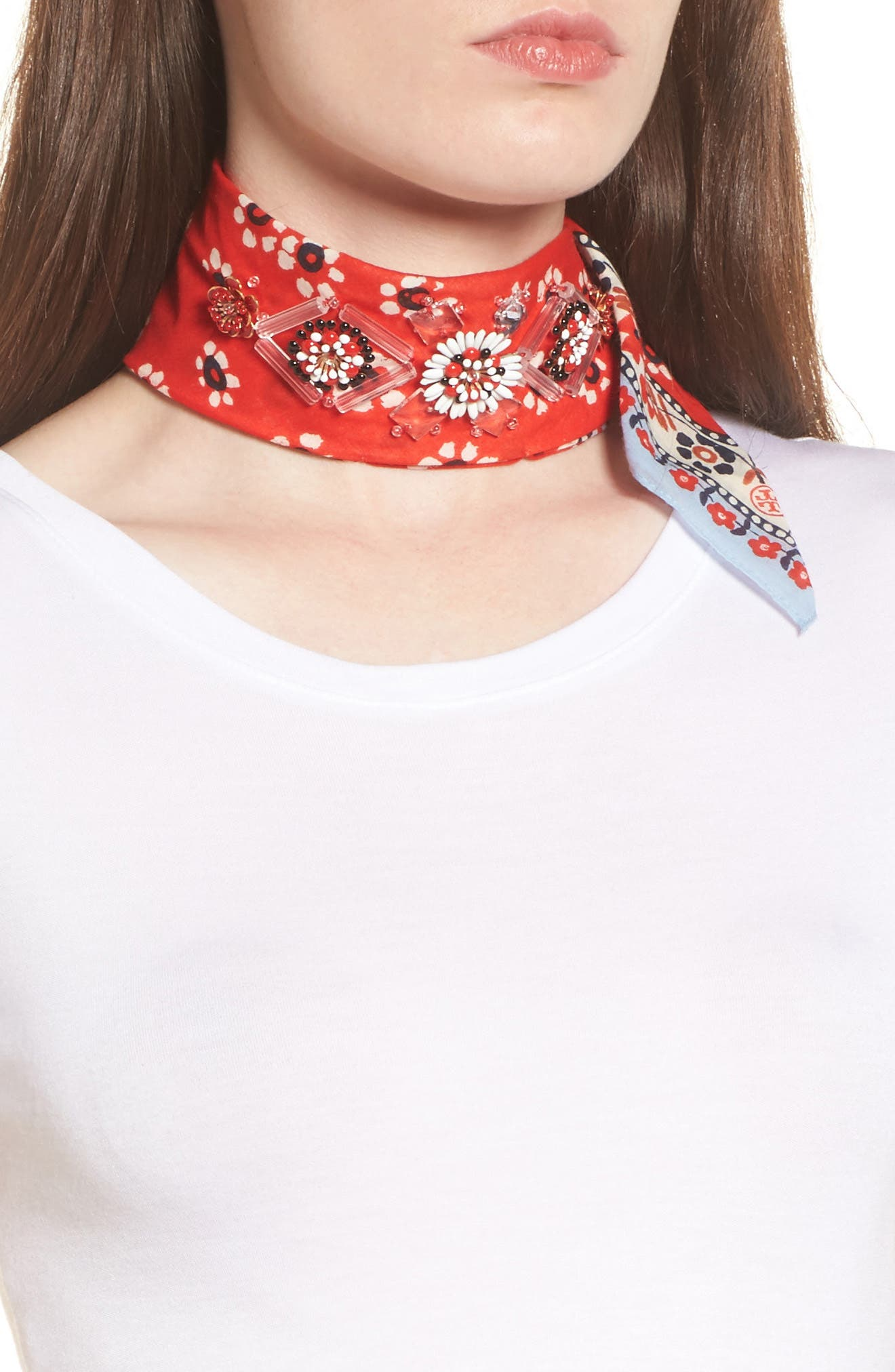 Embellished Floral Scarf,                             Main thumbnail 1, color,                             Red Stamped Floral