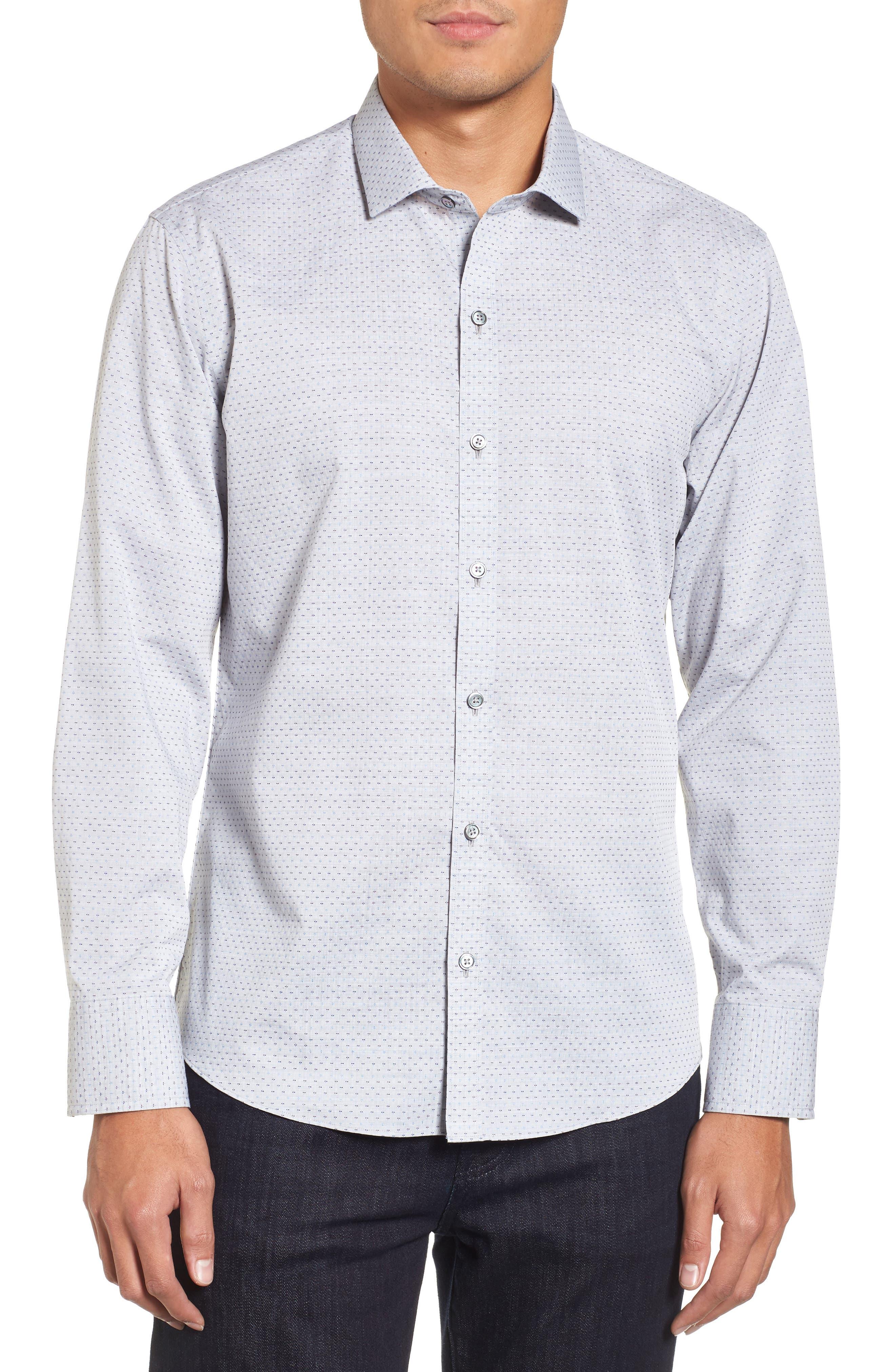 Atila Slim Fit Dobby Woven Sport Shirt,                         Main,                         color, Light Grey