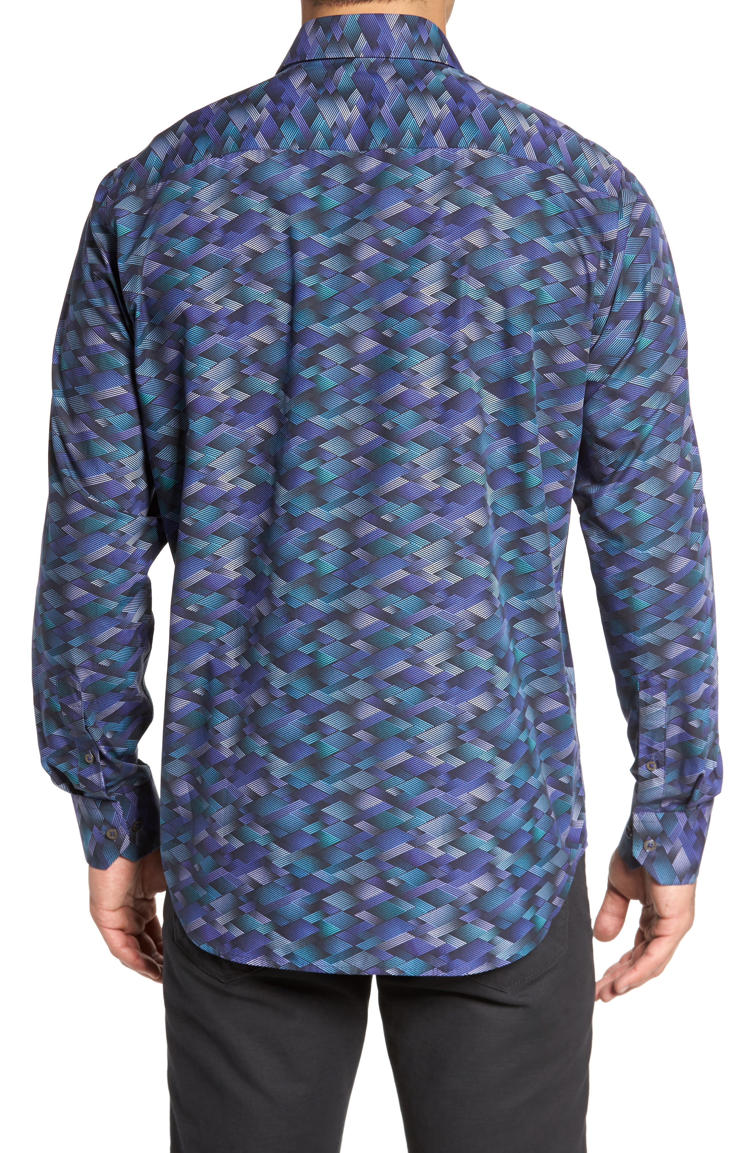 Classic Fit Geo Print Sport Shirt,                             Alternate thumbnail 2, color,                             Orchid