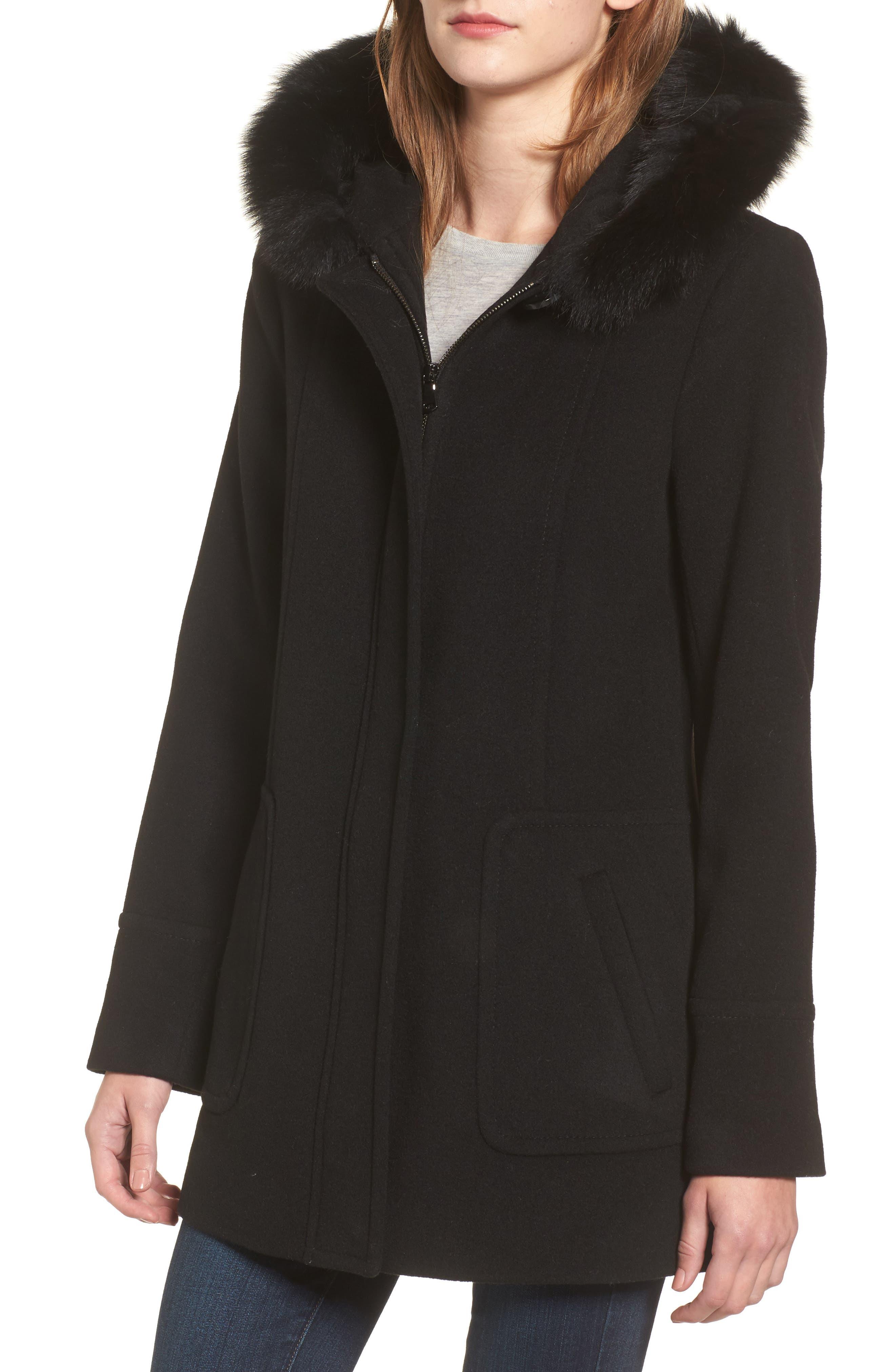 Hooded Wool Blend Coat with Genuine Fox Fur Trim,                             Alternate thumbnail 4, color,                             Black