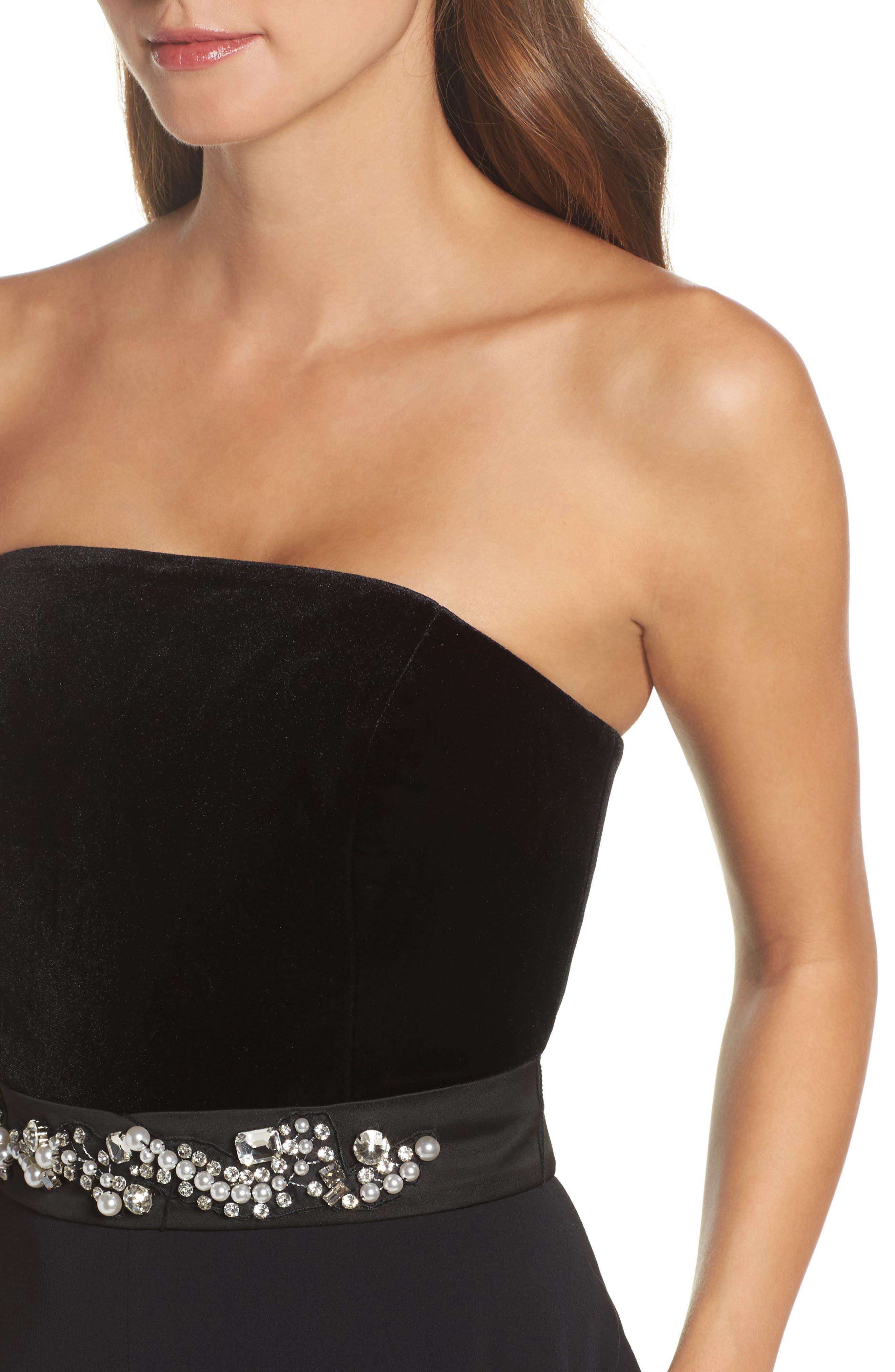 Alternate Image 4  - Eliza J Embellished Belt Strapless Velvet & Crepe Jumpsuit