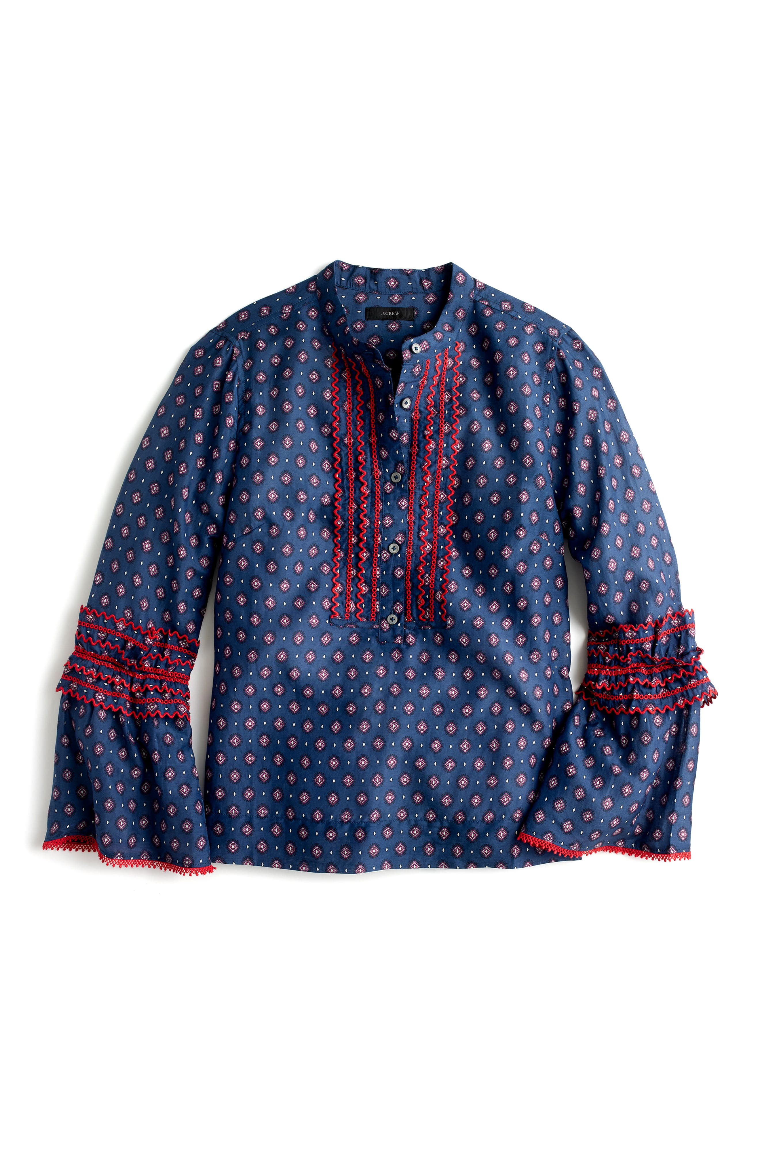 Ludwig Embroidered Bell Sleeve Top,                             Alternate thumbnail 4, color,                             Indigo